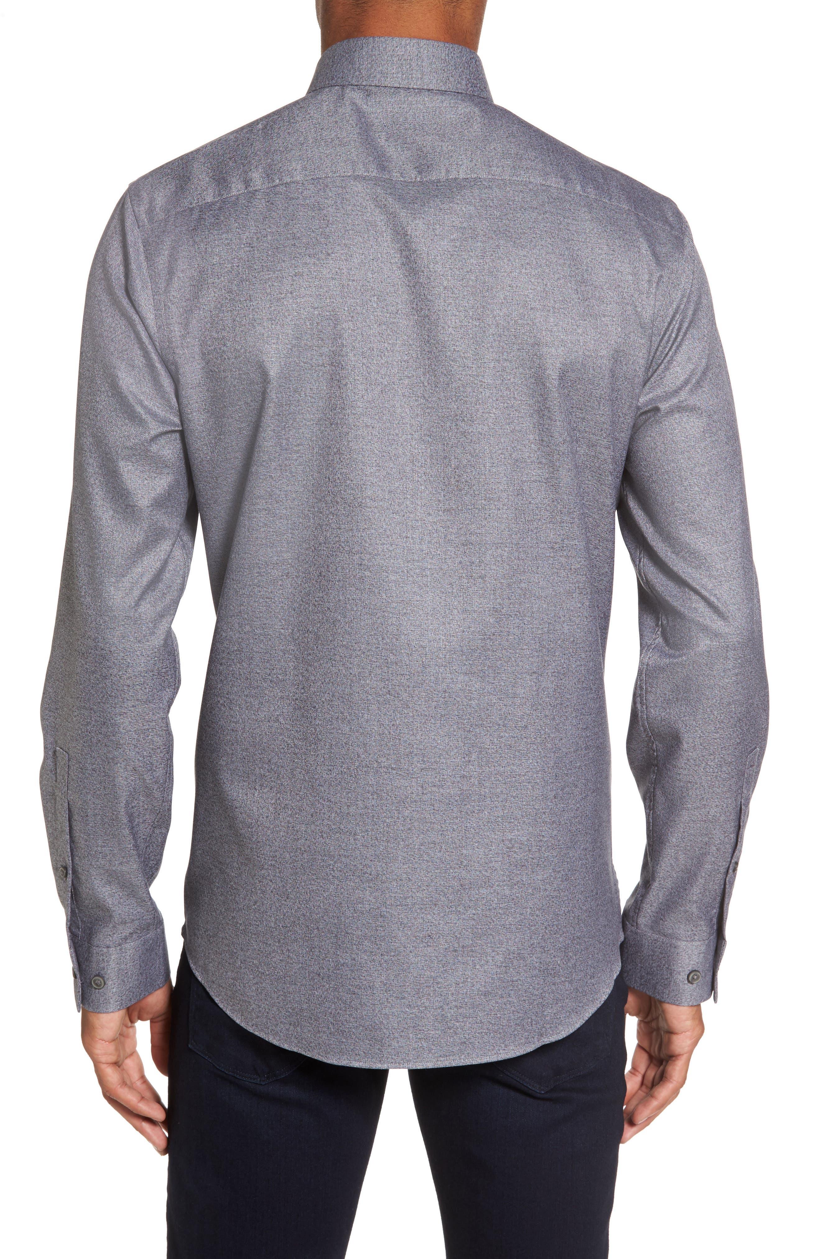 Slim Fit Non-Iron Jaspe Sport Shirt,                             Alternate thumbnail 2, color,                             Grey Magnet Black Jaspe