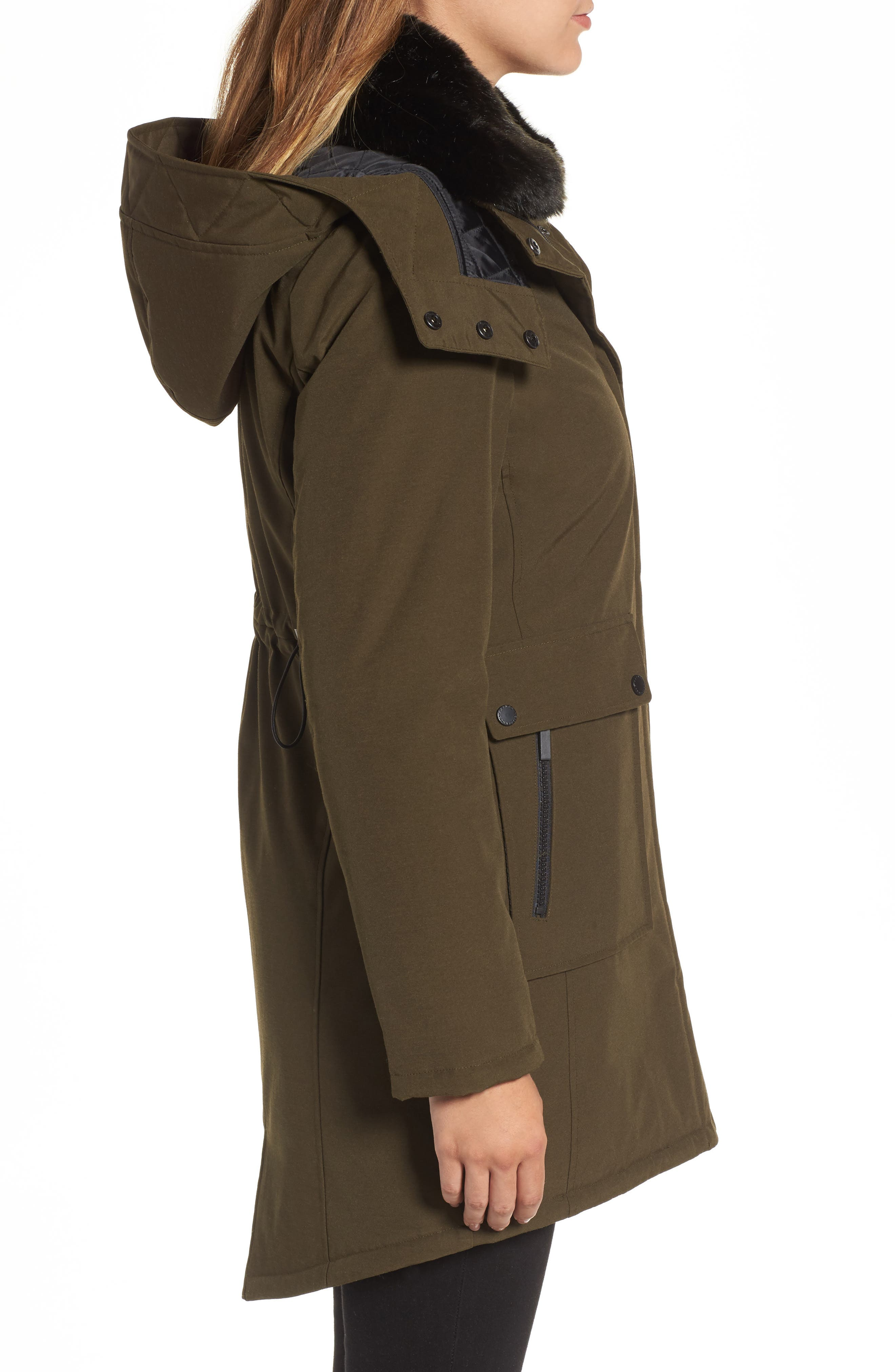 Hooded Anorak with Detachable Faux Fur Collar,                             Alternate thumbnail 3, color,                             Russian Pine