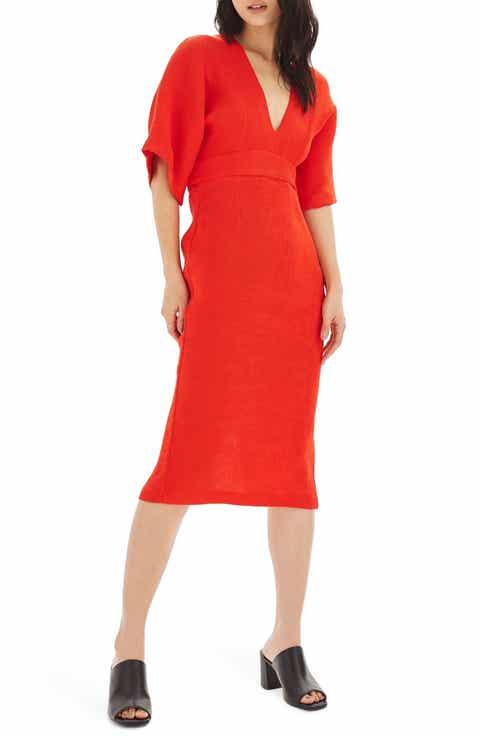 Topshop Textured Plunge Midi Dress