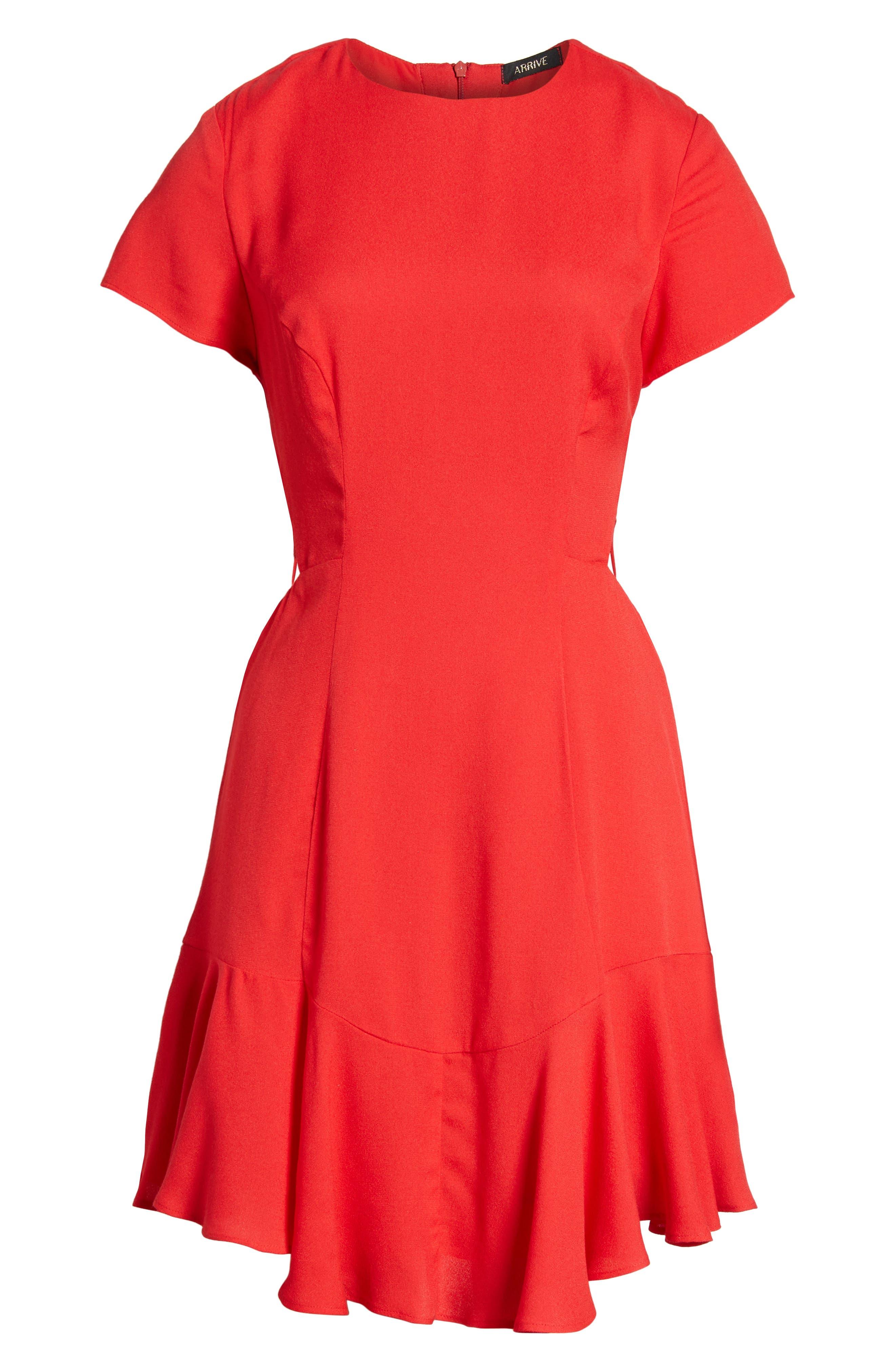 Chelsea Lattice Back Fit & Flare Dress,                             Alternate thumbnail 6, color,                             Red