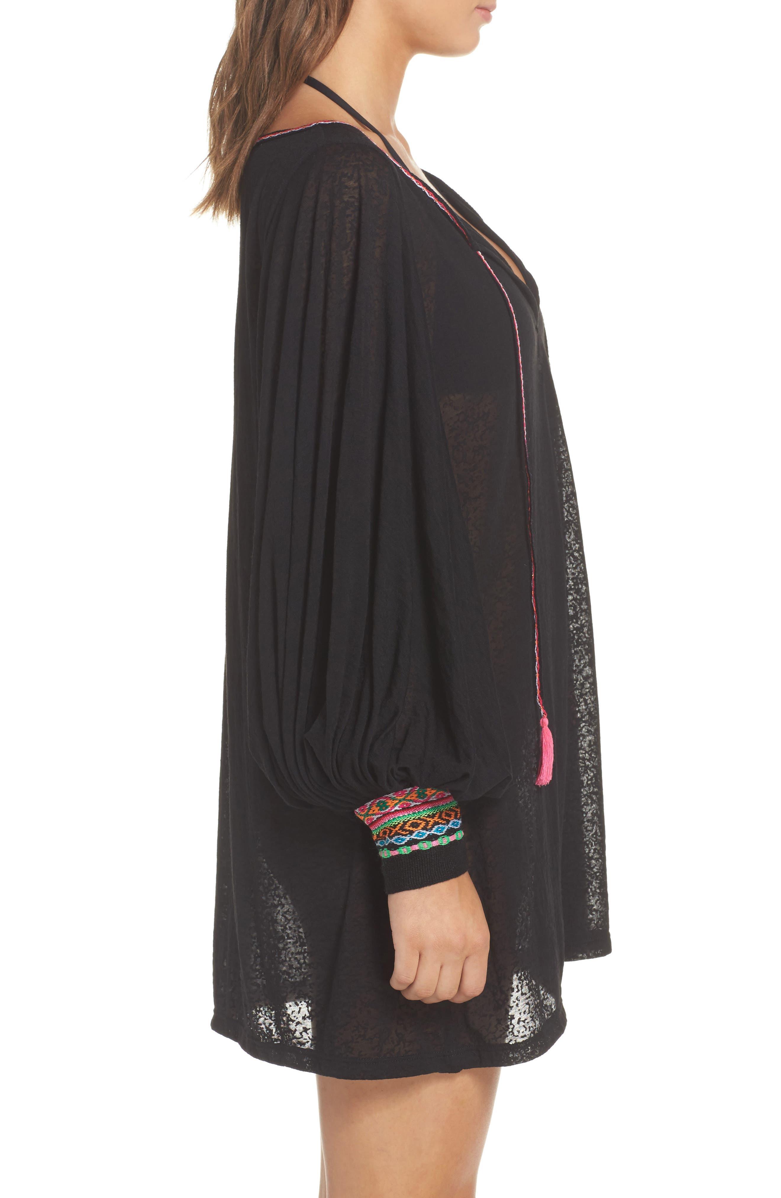 Inca Cover-Up Dress,                             Alternate thumbnail 3, color,                             Black