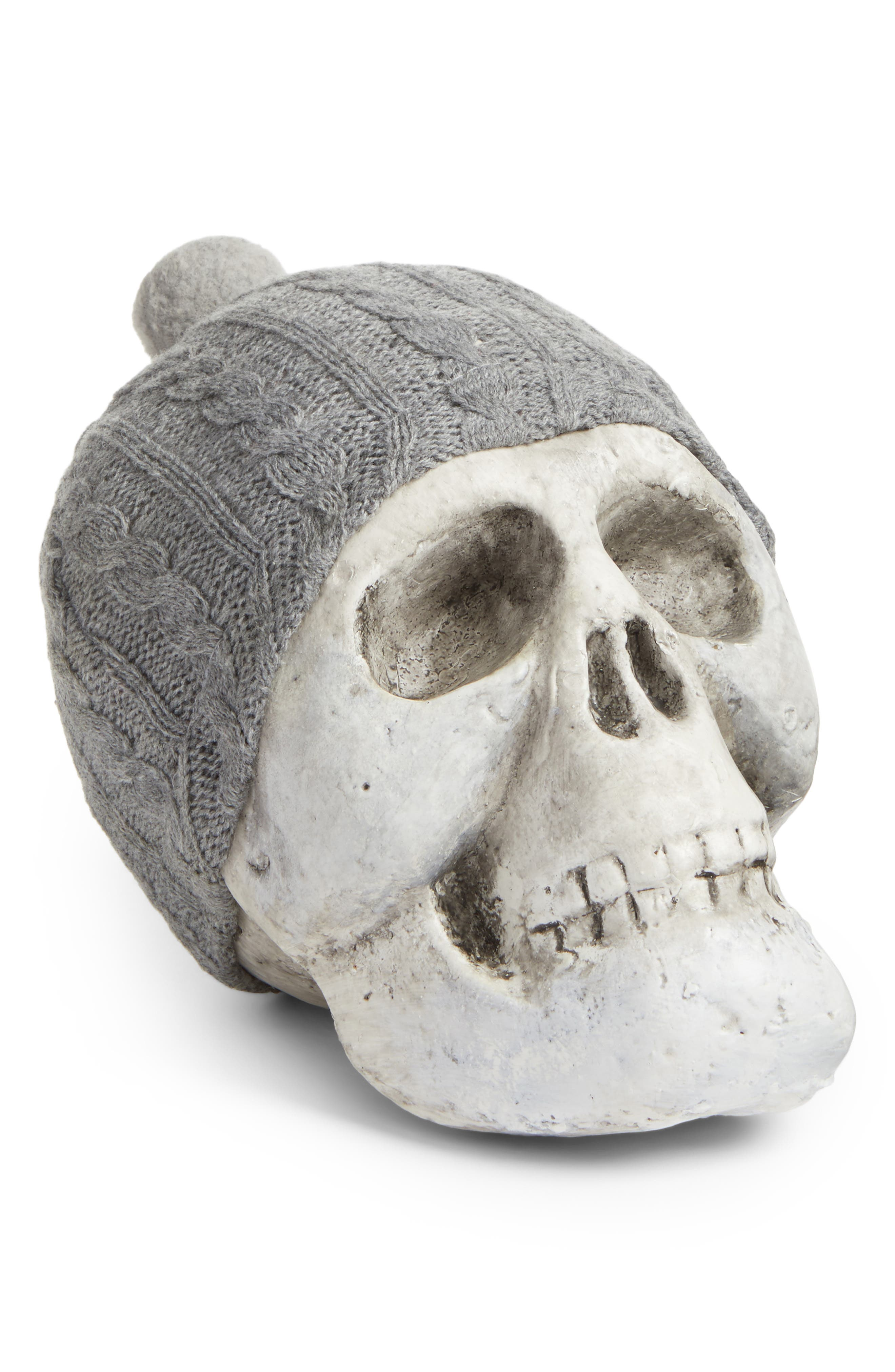 Skull with Beanie Decoration,                             Main thumbnail 1, color,                             Grey/ White