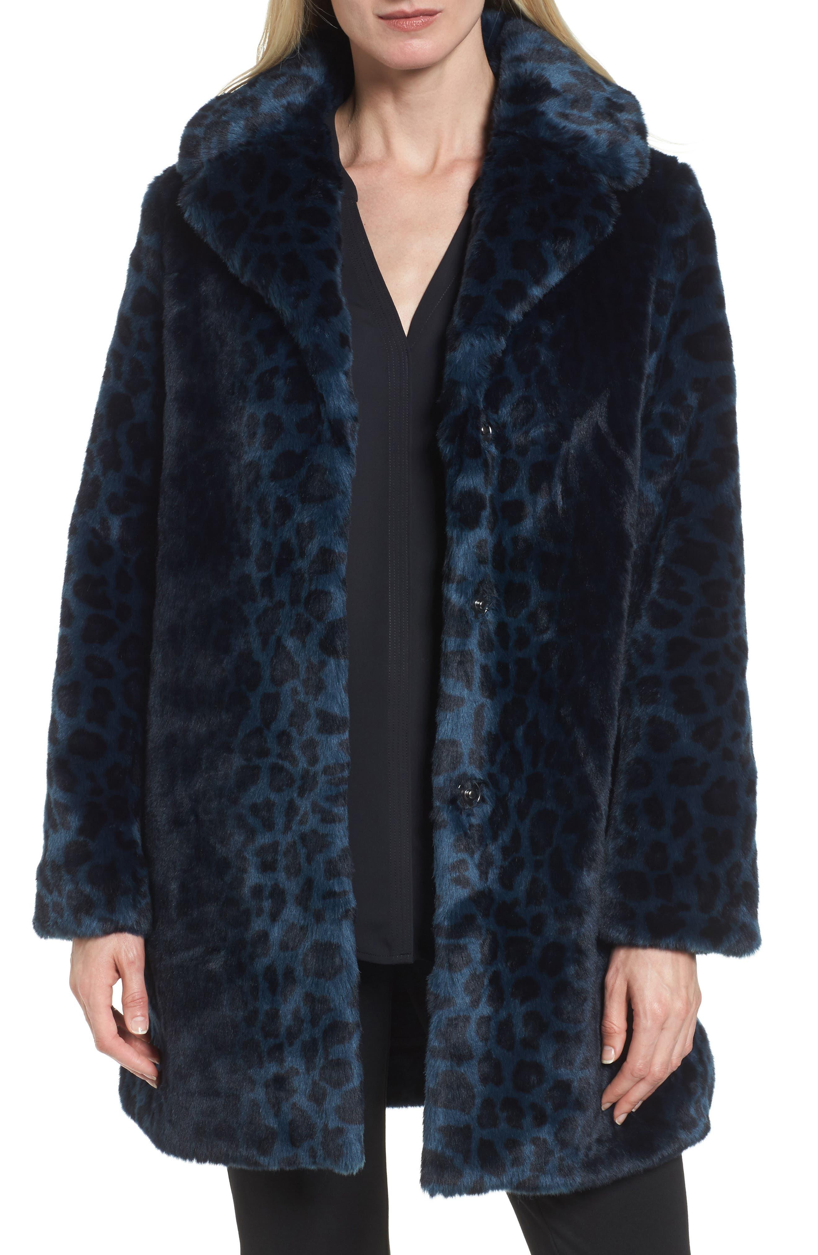 Reversible Cheetah Print Faux Fur Jacket,                             Main thumbnail 1, color,                             Navy