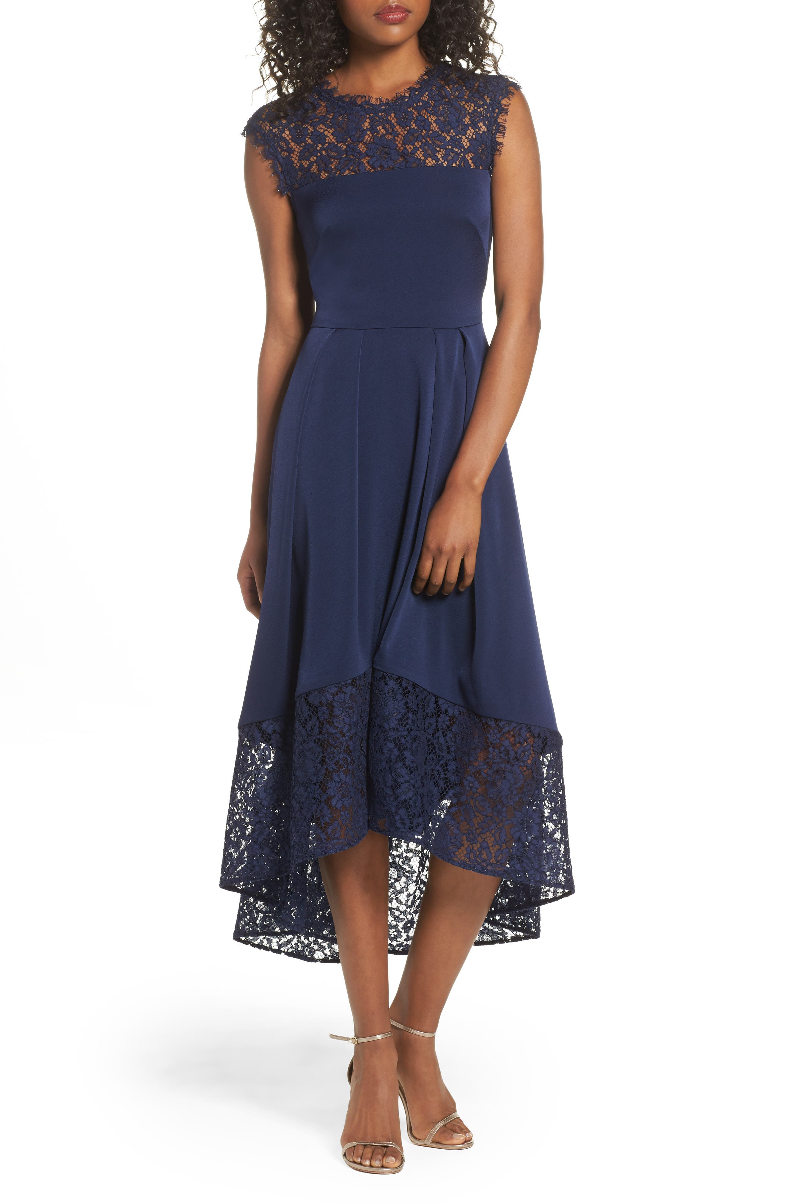 Allachie Lace & Crepe High/Low Midi Dress,                         Main,                         color, Navy