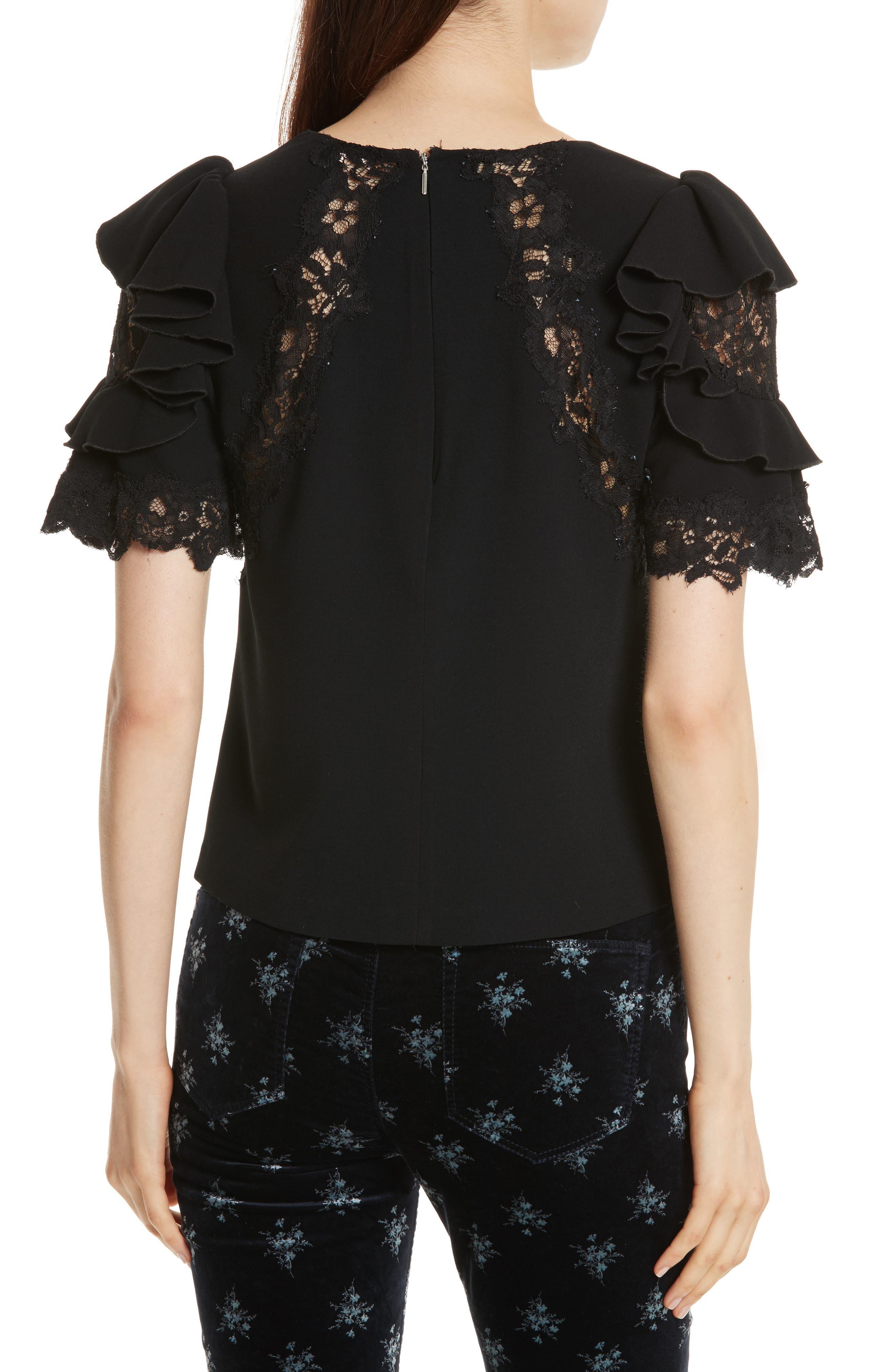 Lace & Crepe Flutter Sleeve Top,                             Alternate thumbnail 2, color,                             Black