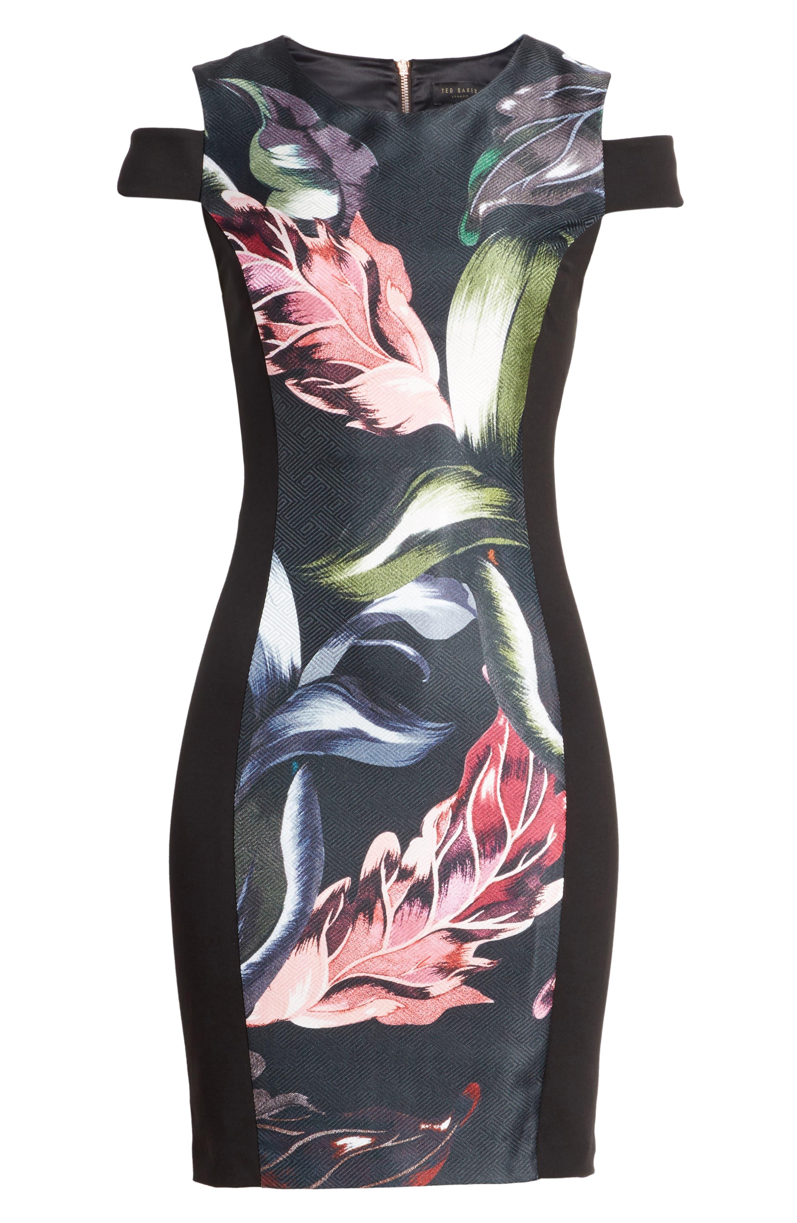 Leeash Eden Body Con Dress,                             Alternate thumbnail 6, color,                             Black