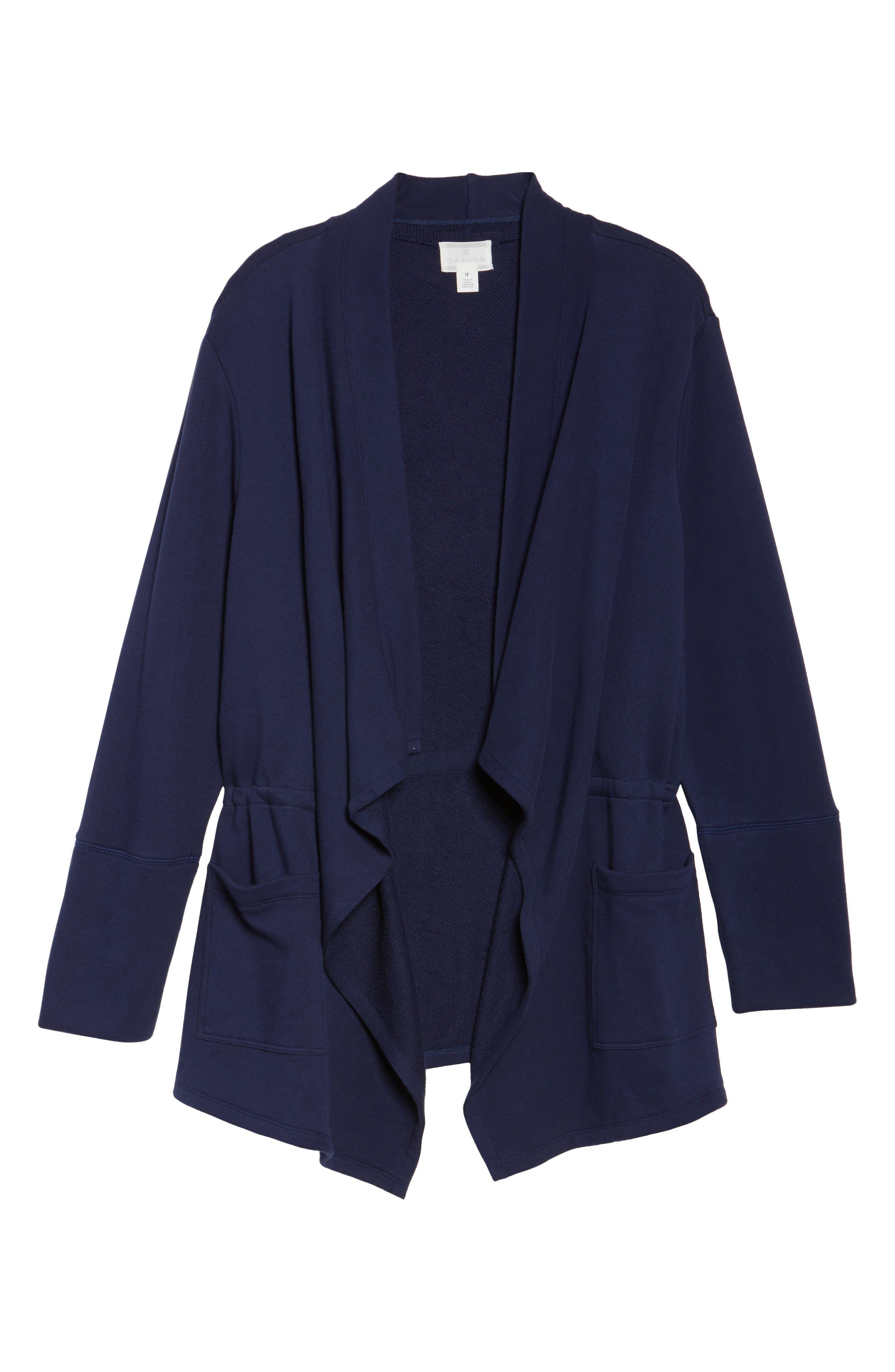 Knit Drape Front Jacket,                             Alternate thumbnail 6, color,                             Navy Peacoat