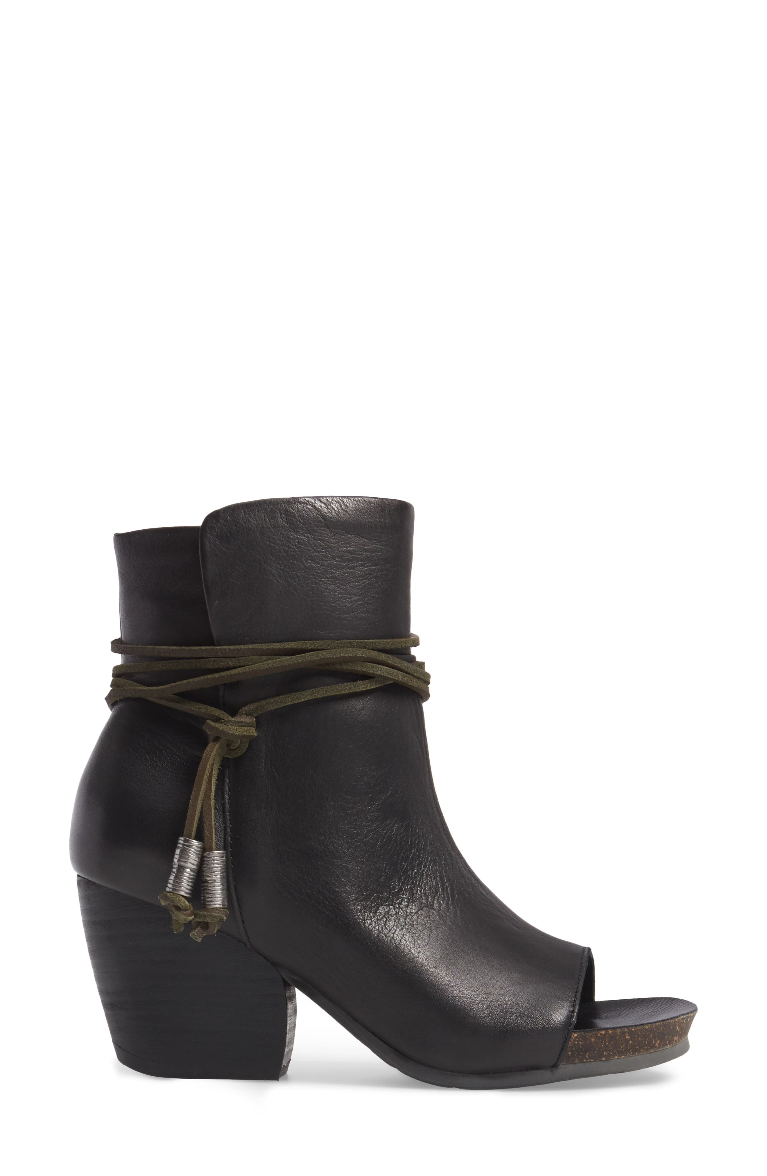 Open Toe Bootie,                             Alternate thumbnail 3, color,                             Black Leather