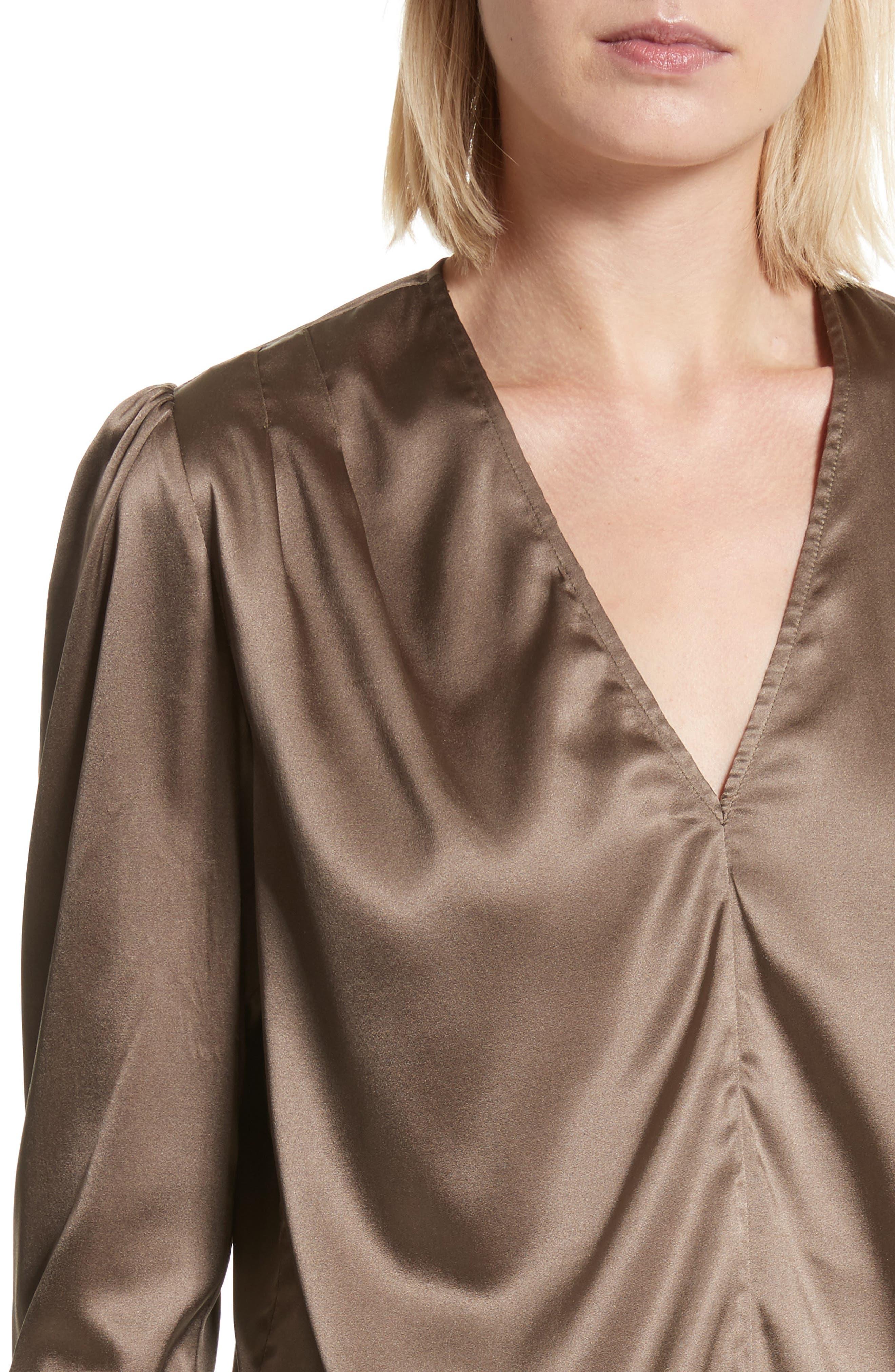 Shield Silk Blouse,                             Alternate thumbnail 4, color,                             Khaki