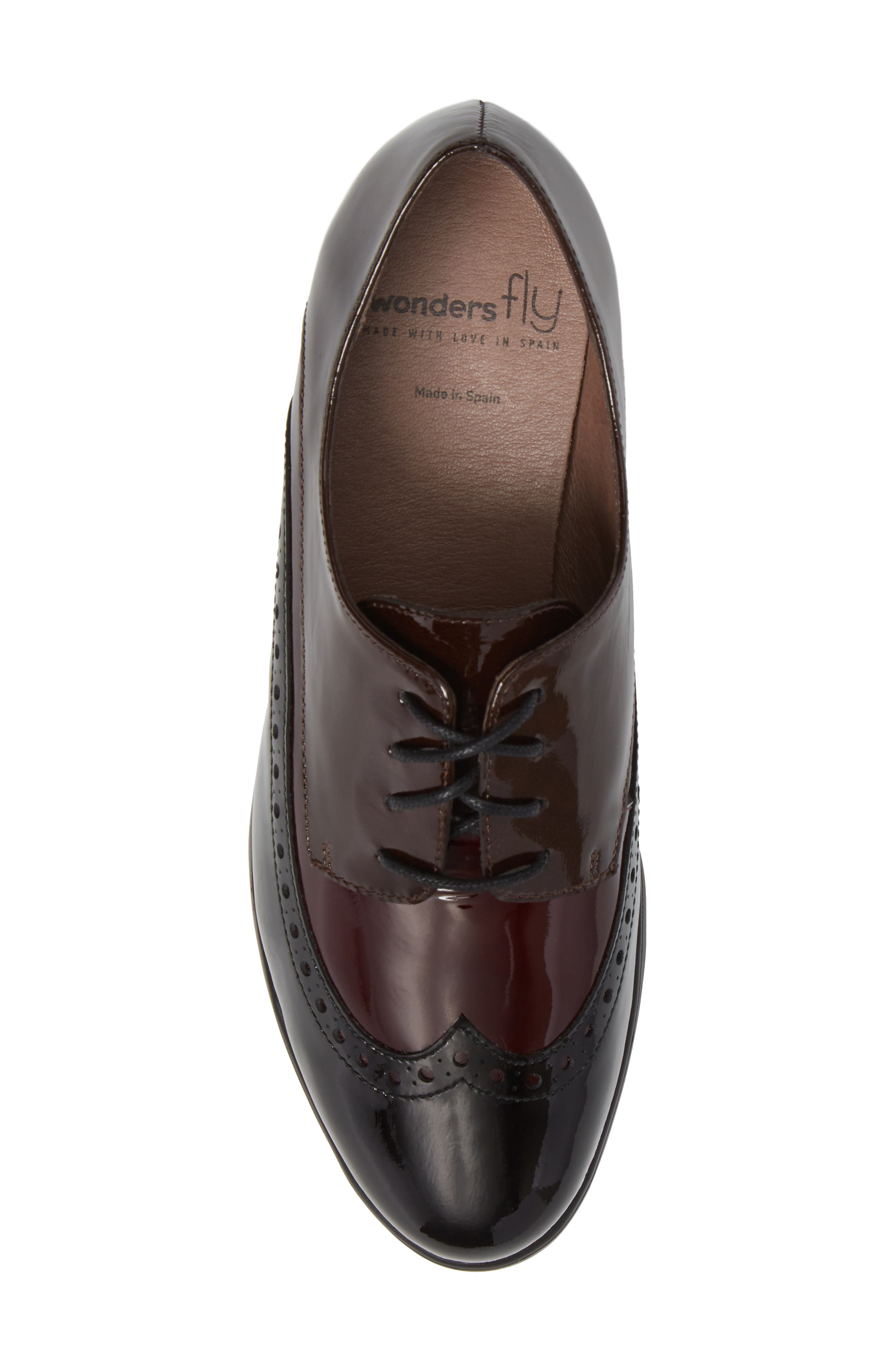 Wedge Wingtip Derby,                             Alternate thumbnail 5, color,                             Black/ Bordo Patent Leather
