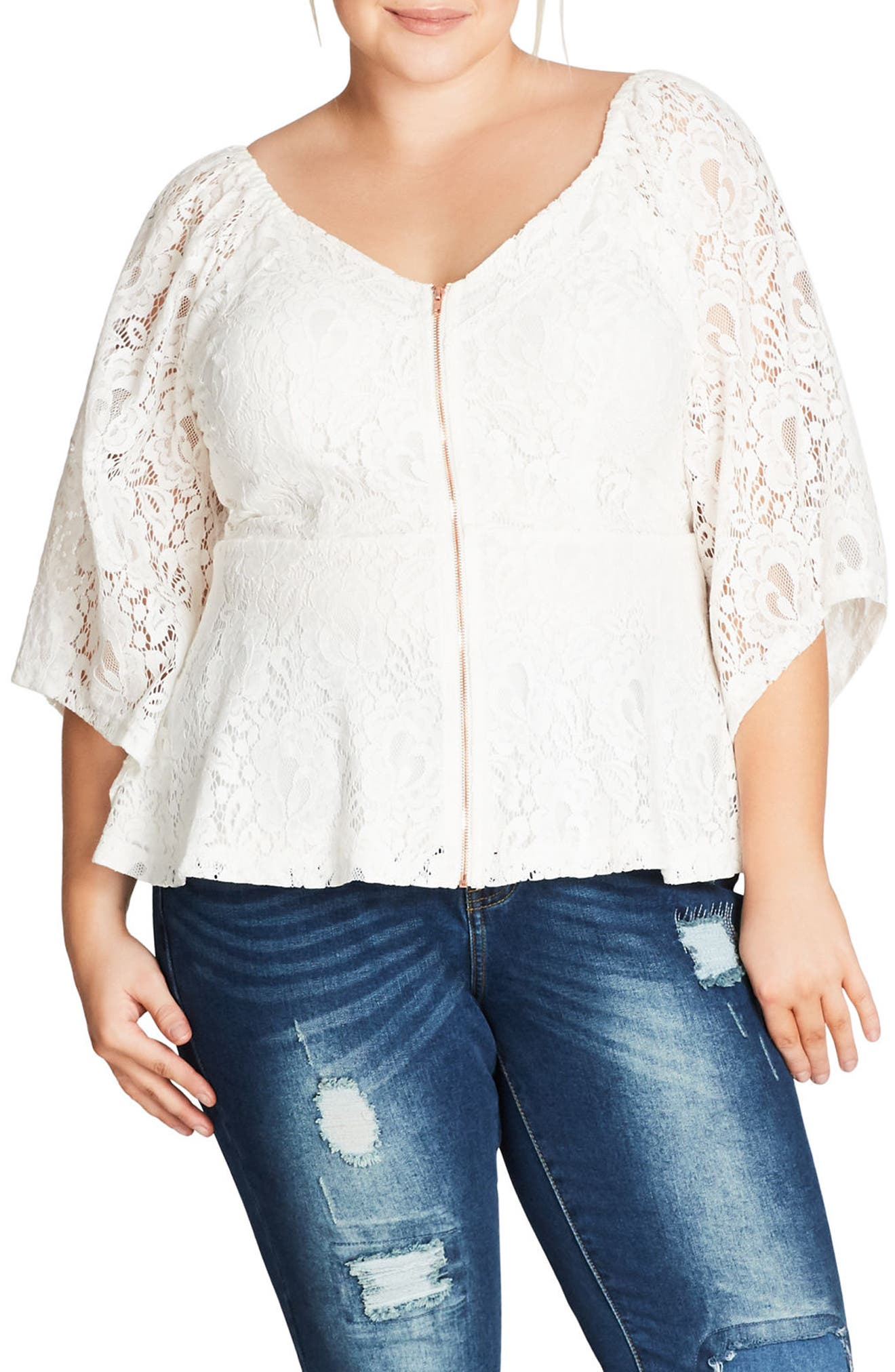 Main Image - City Chic Sheer Romance Lace Top (Plus Size)