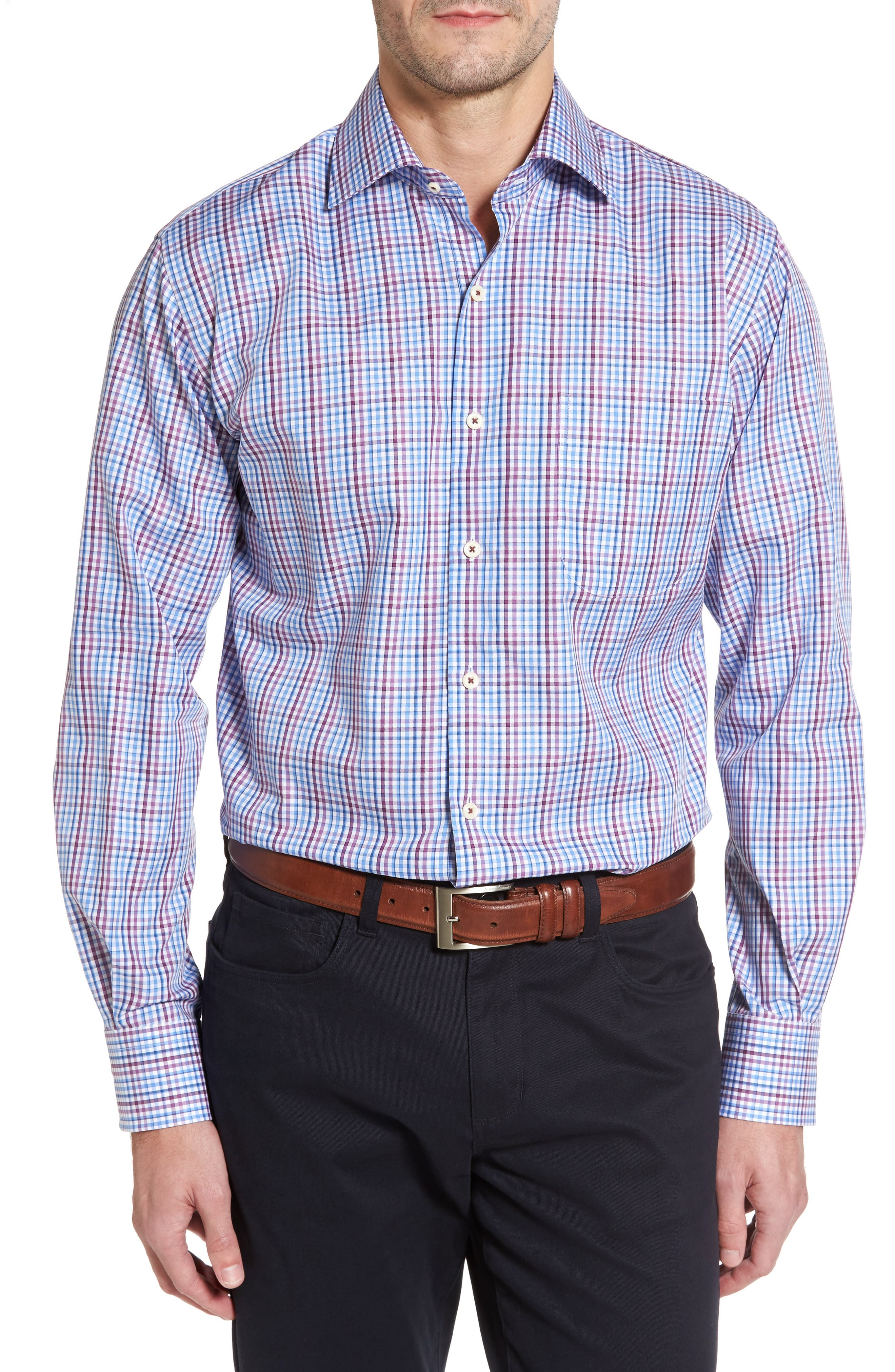 Grand Voyage Regular Fit Tattersall Sport Shirt,                         Main,                         color, Vessel