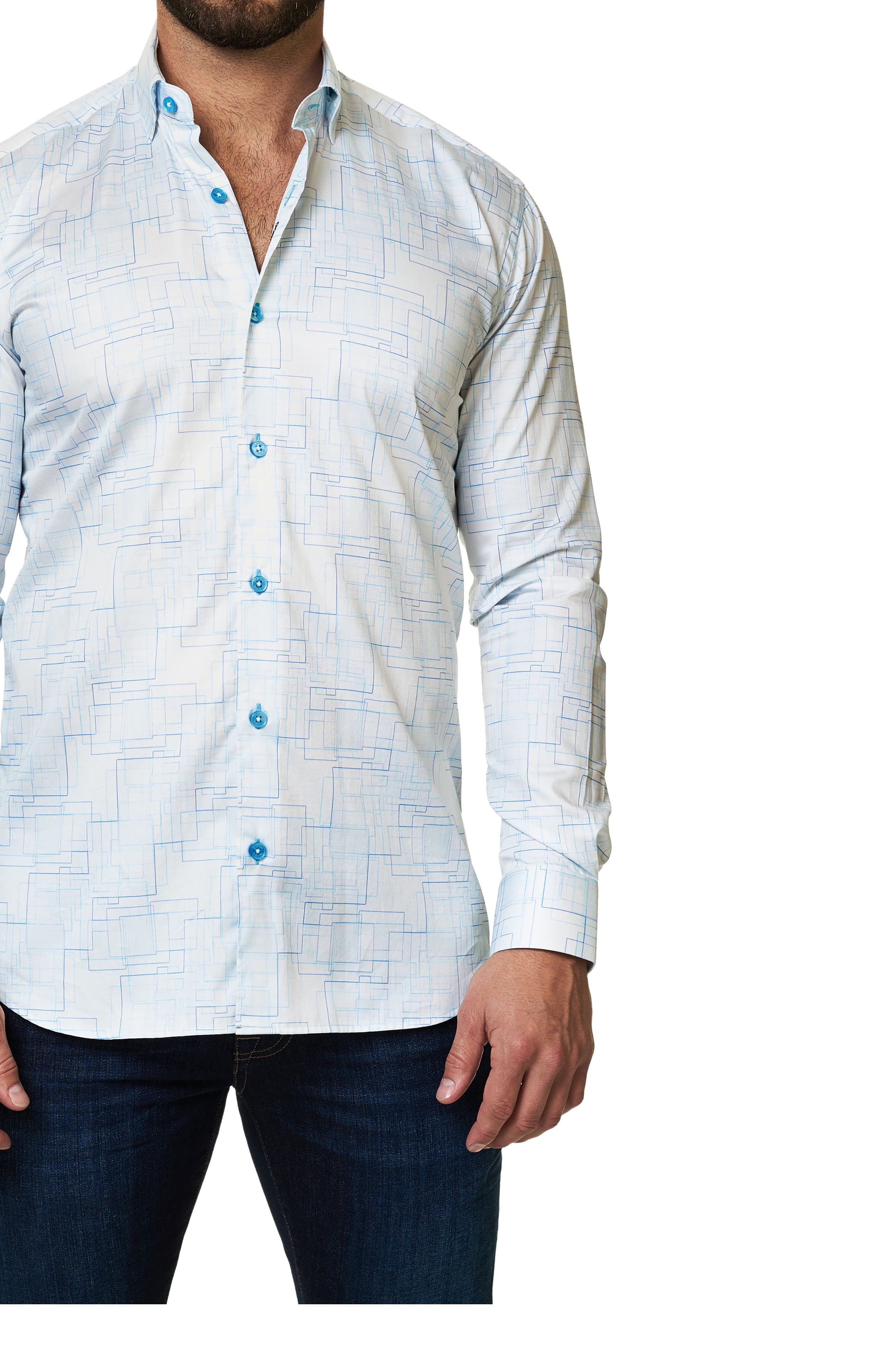 Alternate Image 3  - Maceoo Trim Fit Geo Print Sport Shirt