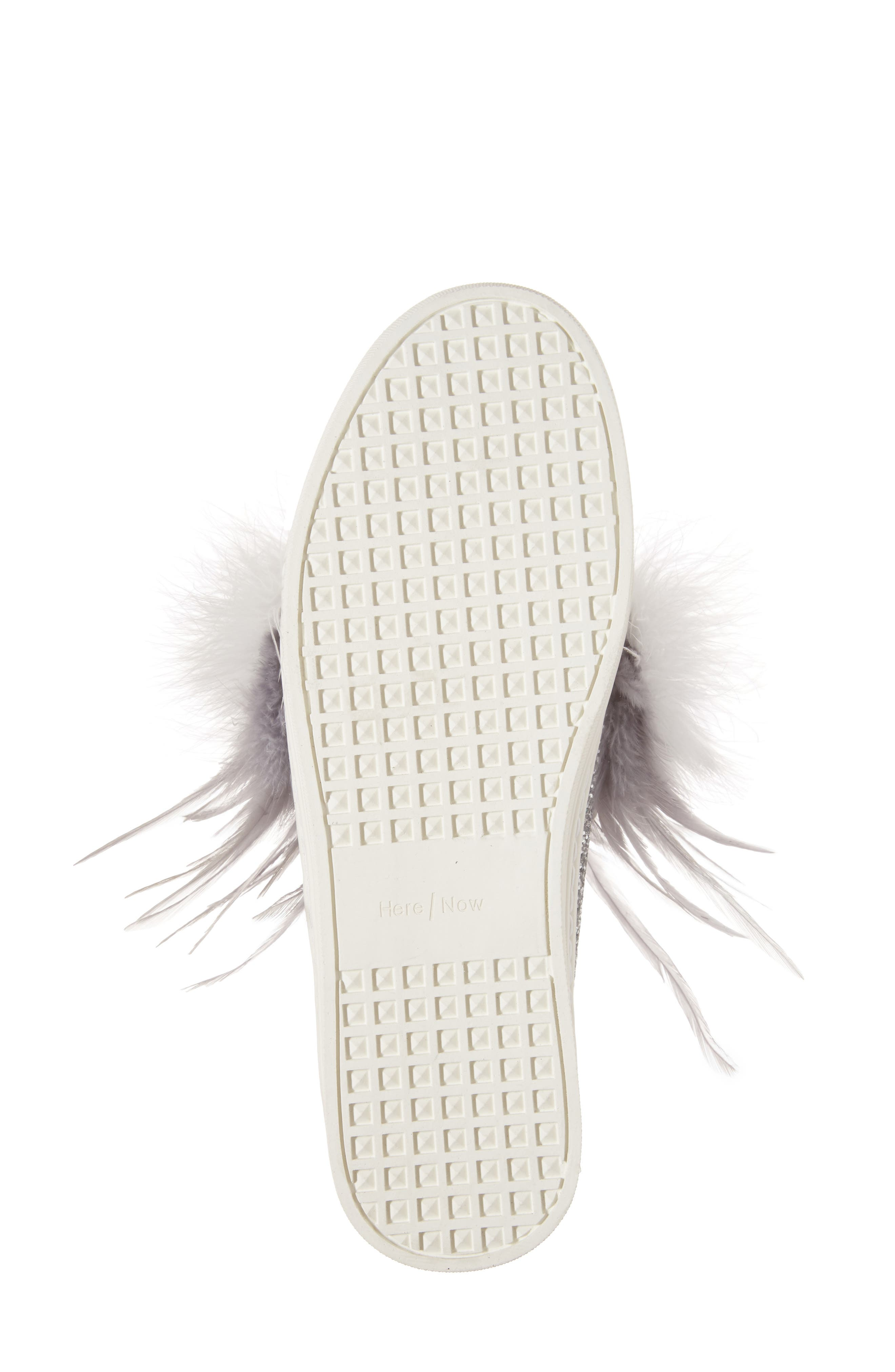 Kate Feathered Slip-On Sneaker,                             Alternate thumbnail 6, color,                             Grey Feather Silver Glitter