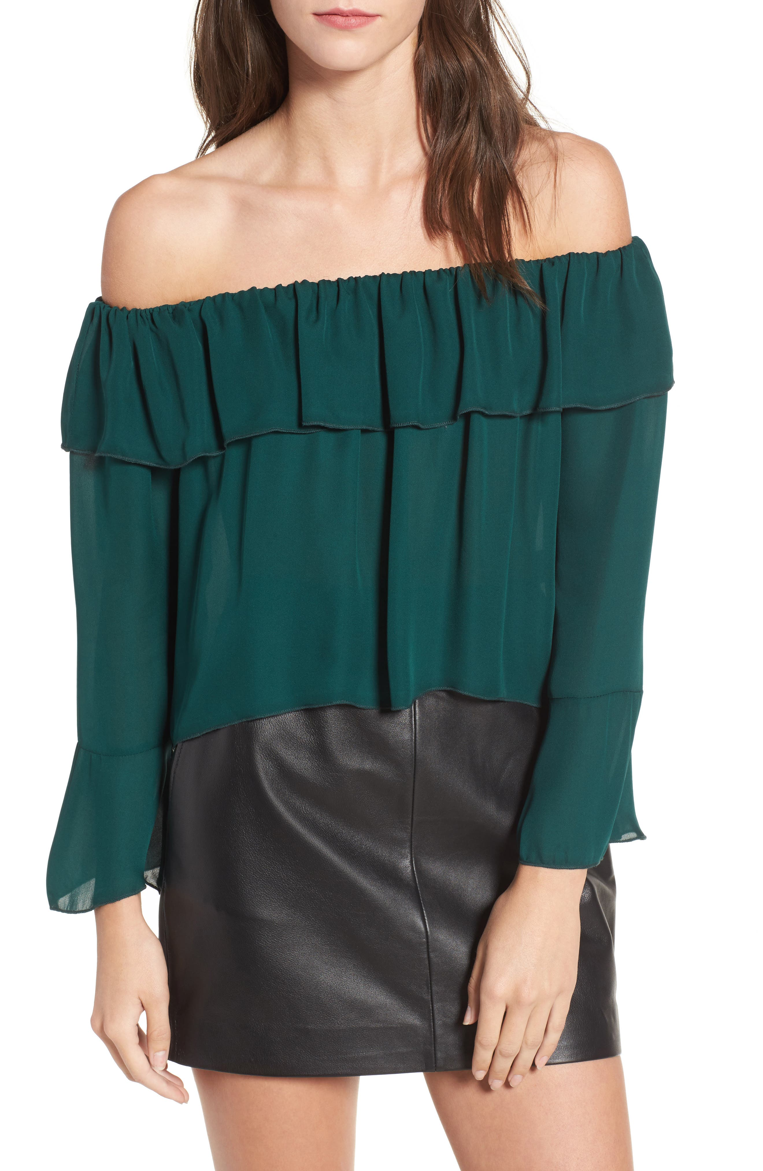 Kennedy Off the Shoulder Blouse,                             Main thumbnail 1, color,                             Emerald Green