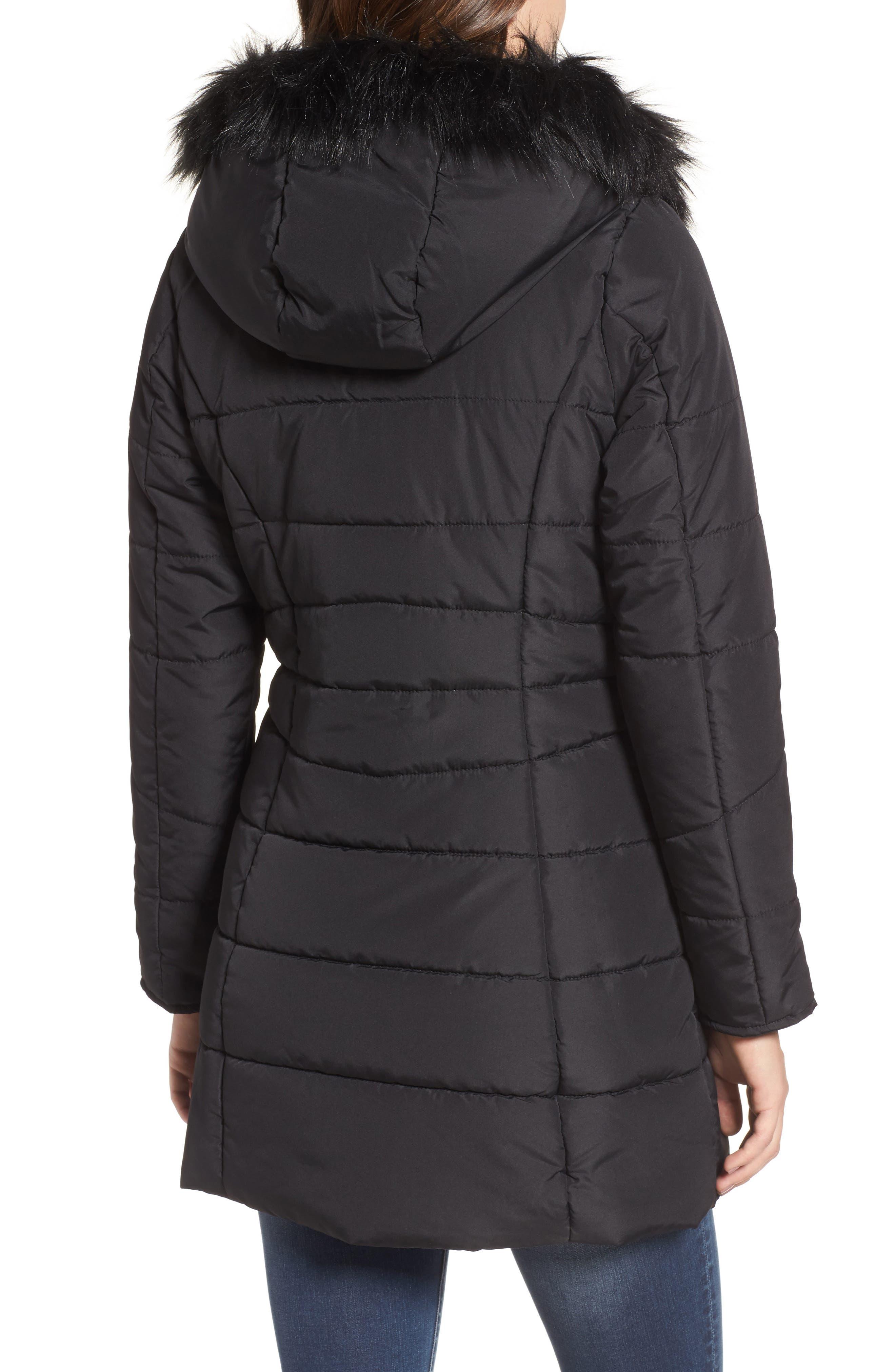Faux Fur Collar Quilted Walker Coat,                             Alternate thumbnail 2, color,                             Black