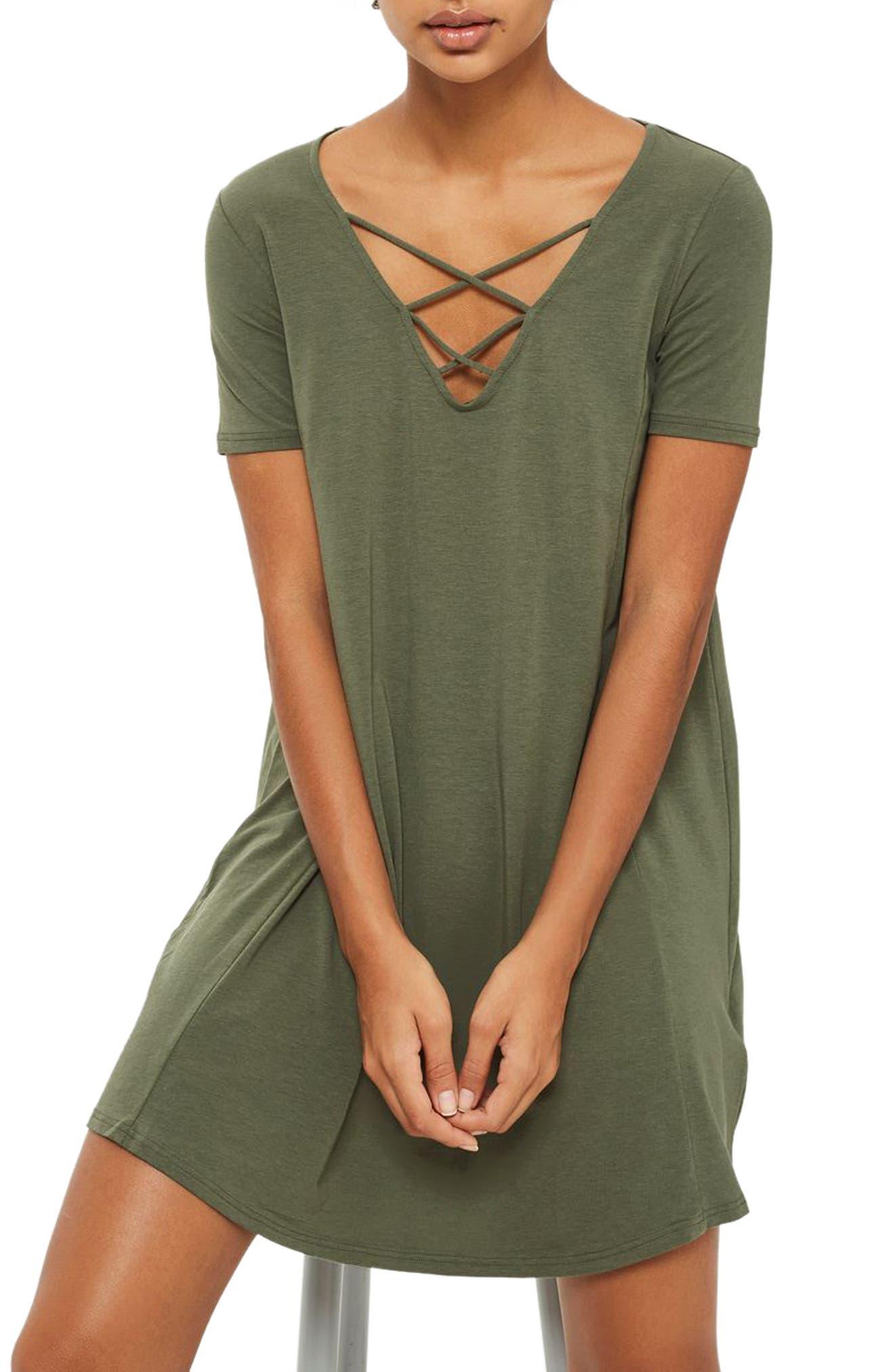 Topshop Lattice Jersey Swing Dress