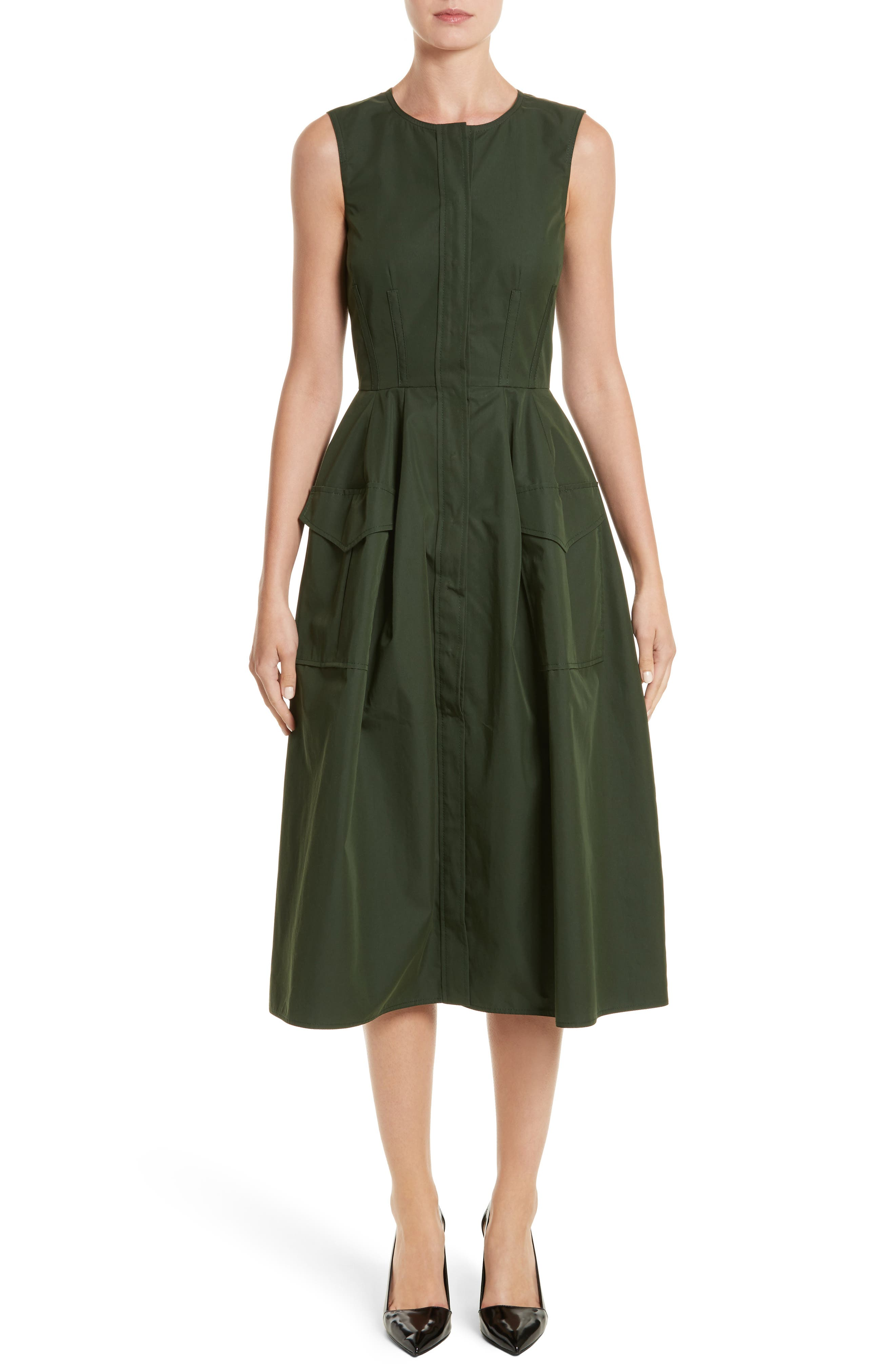 Safari Micro Twill Dress,                             Main thumbnail 1, color,                             Fern