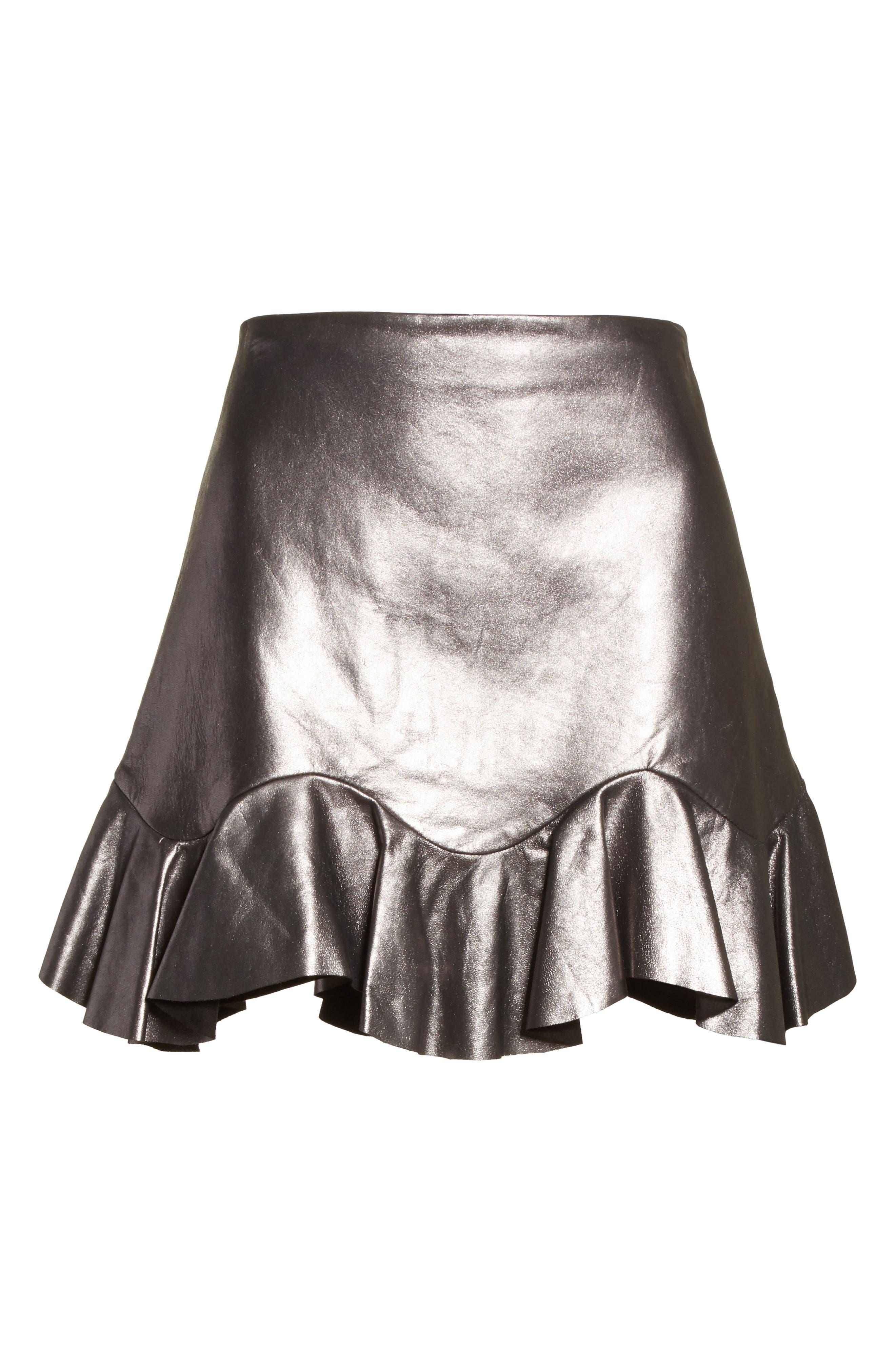 Alternate Image 6  - Rebecca Taylor Metallic Leather Miniskirt