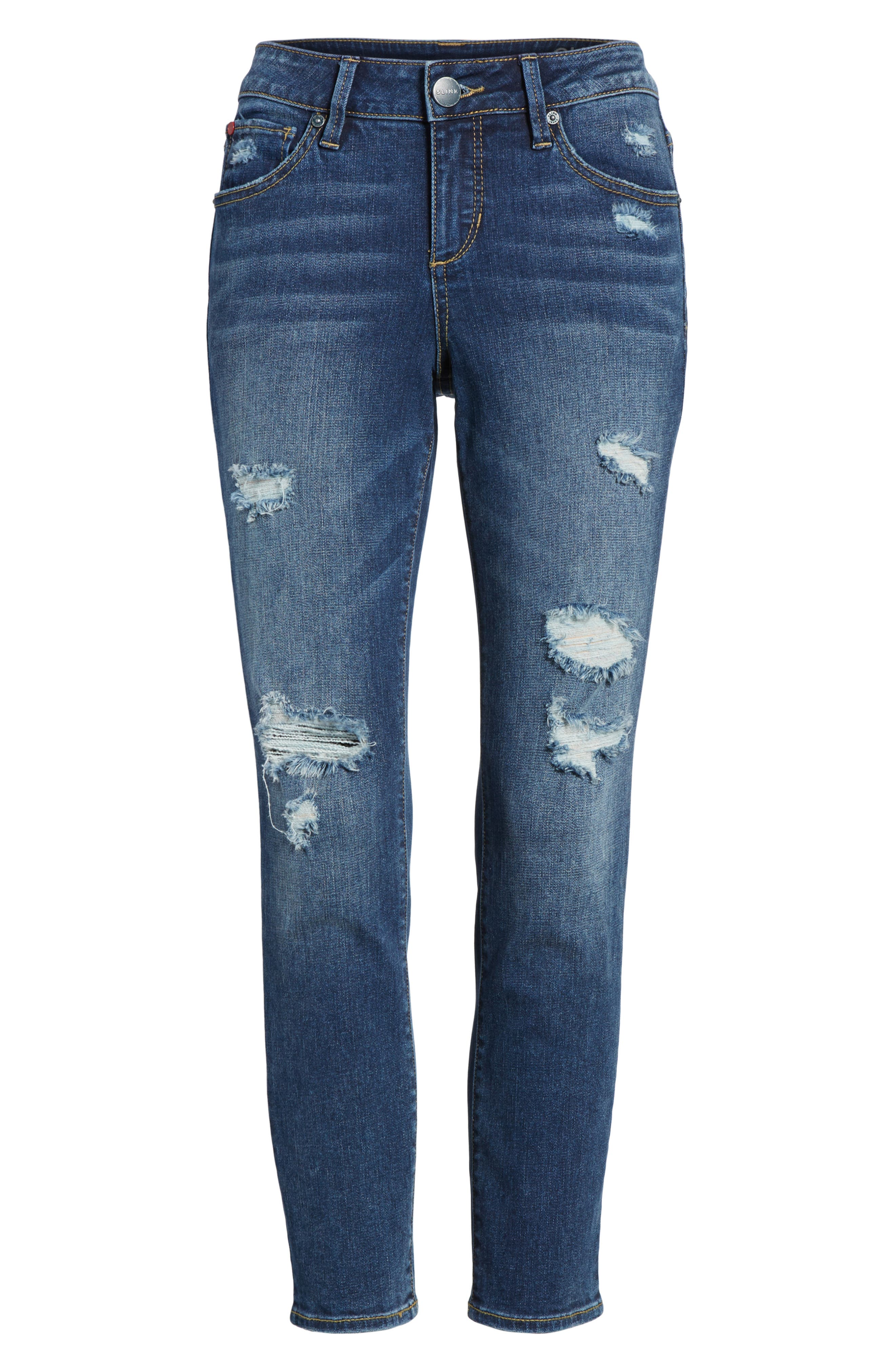Alternate Image 6  - SLINK Jeans Distressed Ankle Skinny Jeans (Lysa)