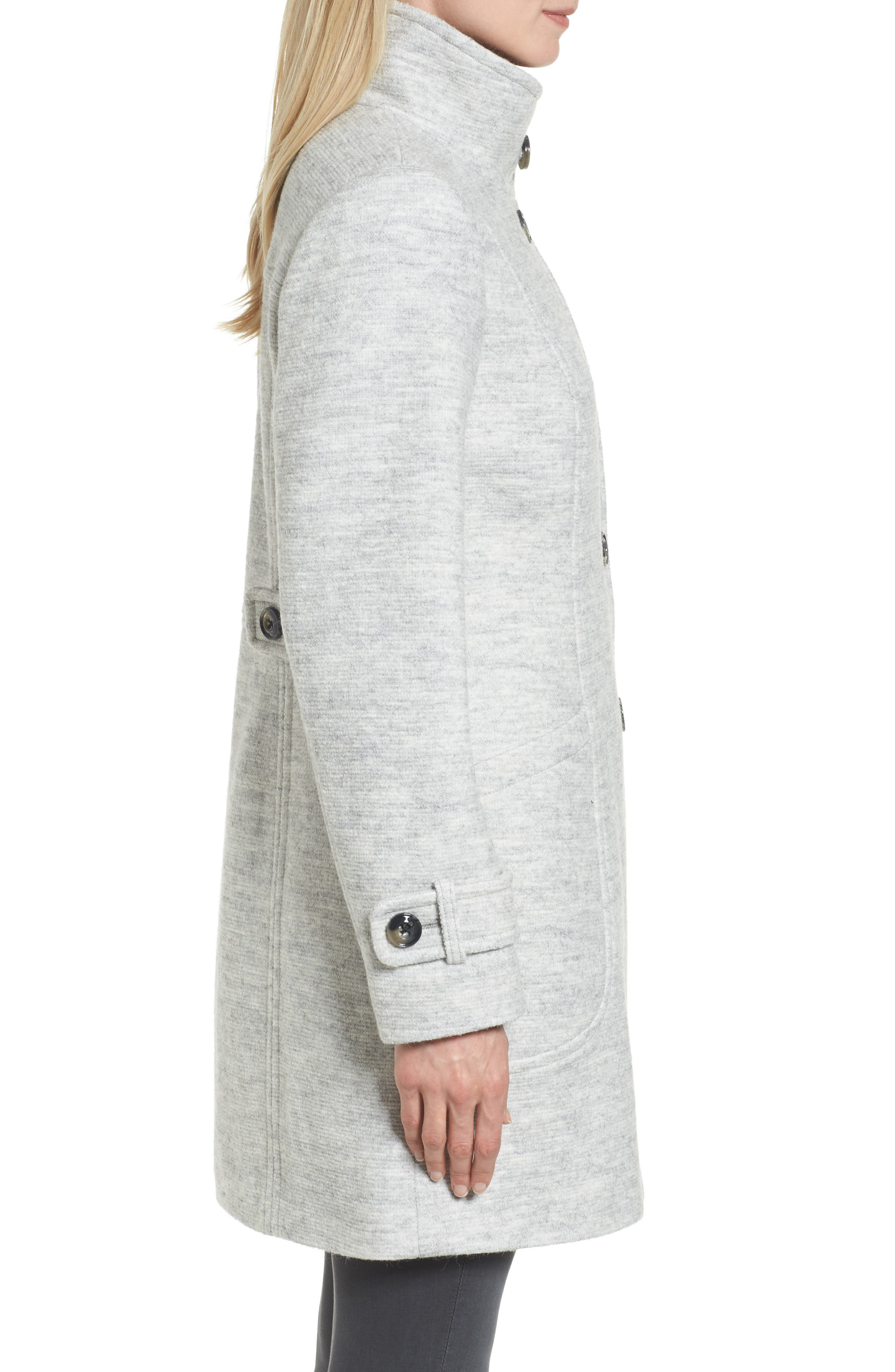Stand Collar Coat,                             Alternate thumbnail 3, color,                             Pale Grey