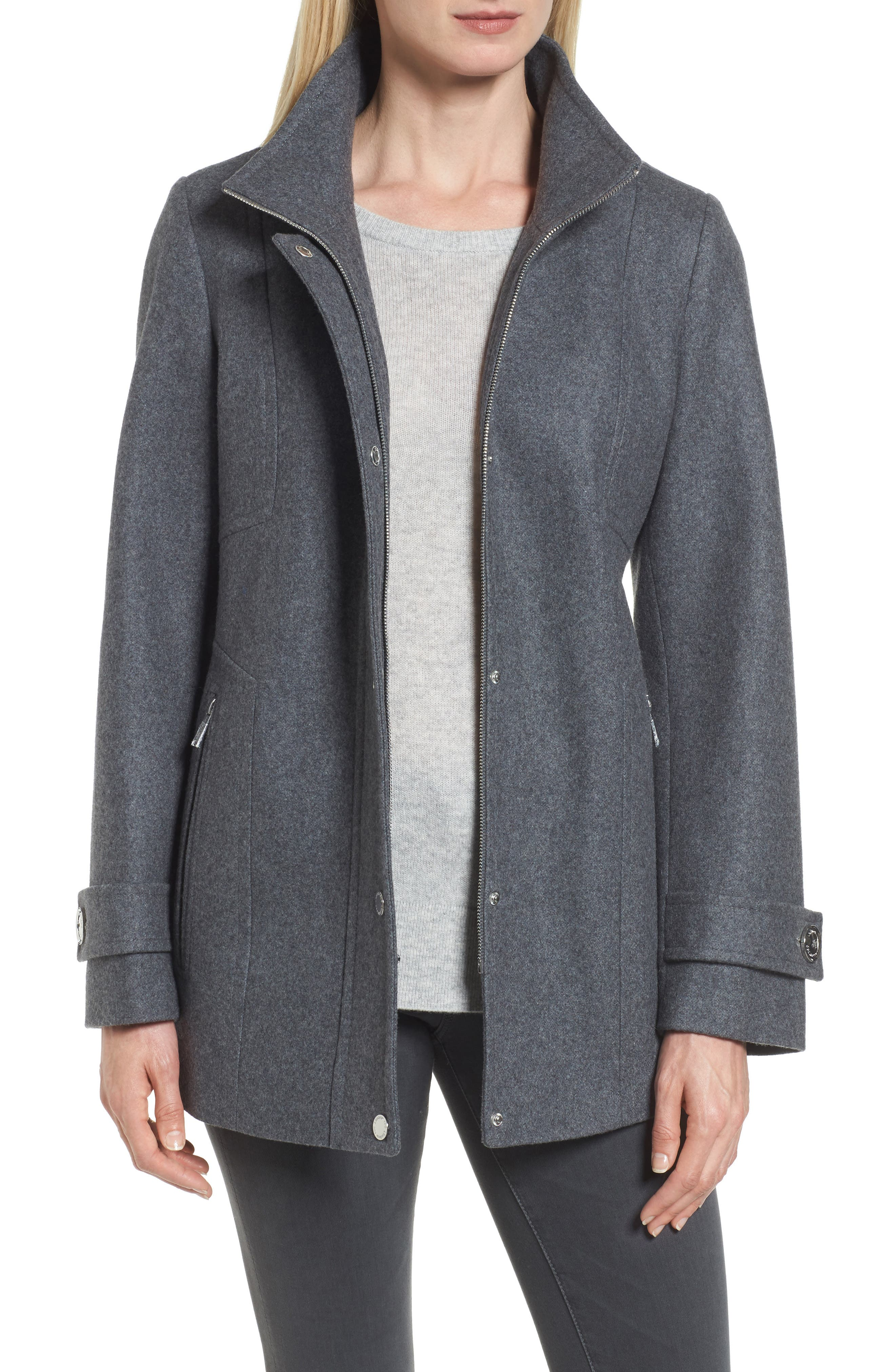 Peacoat with Faux Fur Trim,                             Alternate thumbnail 4, color,                             Medium Grey