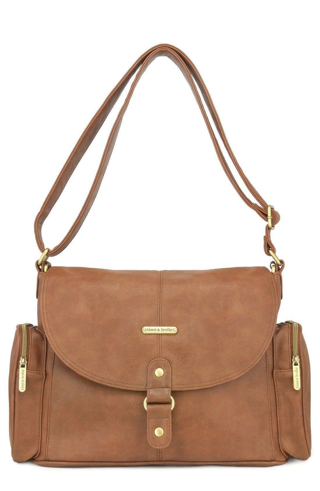 Main Image - Timi & Leslie 'Metro Messenger' Faux Leather Diaper Bag