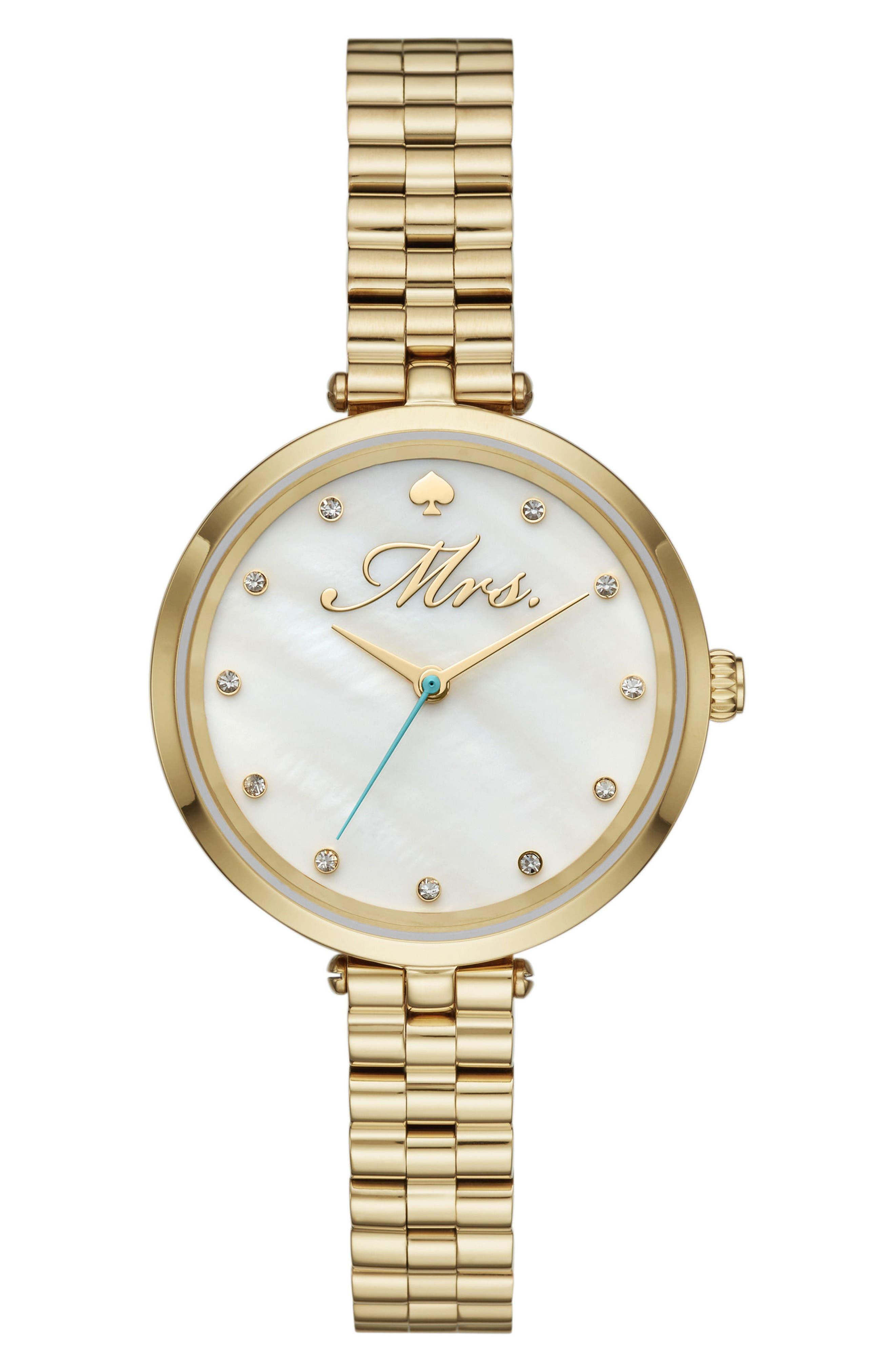 holland mrs. bracelet watch, 34mm,                             Main thumbnail 1, color,                             Gold/ Mop/ Gold