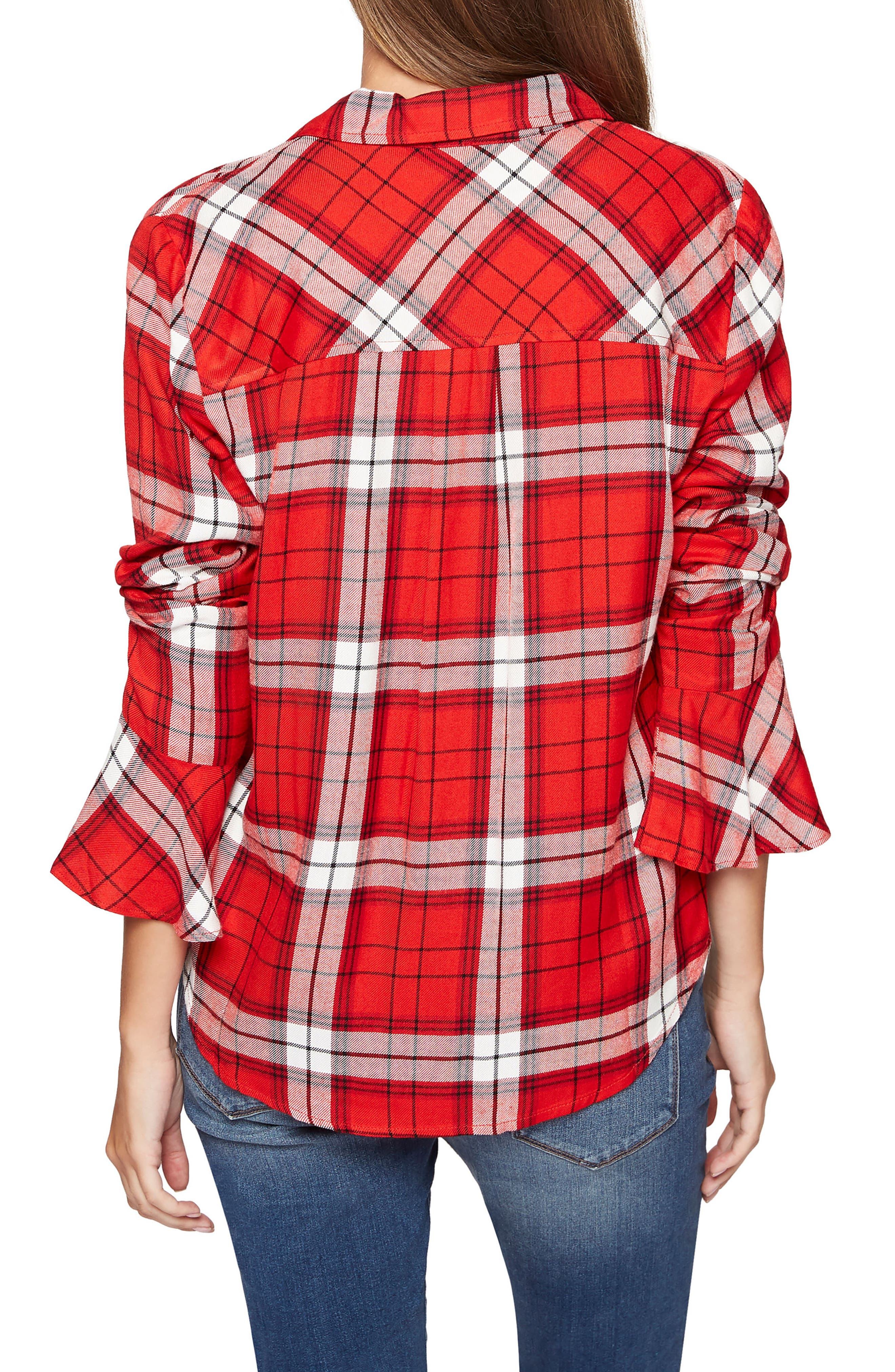 Alternate Image 3  - Sanctuary Nightscape Plaid Ruffle Cuff Shirt