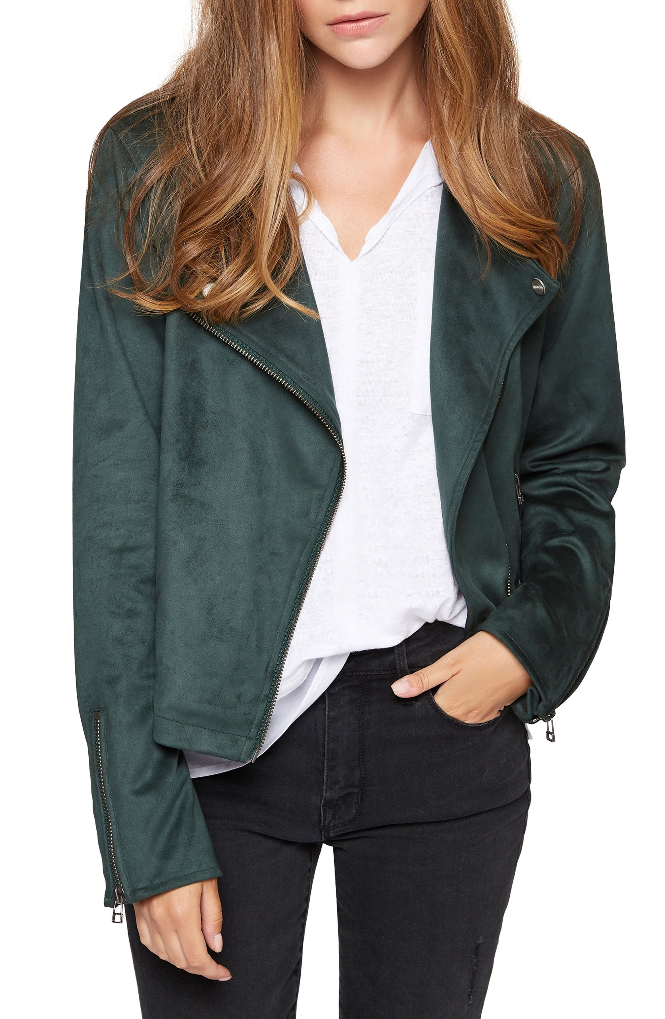 Do It Right Faux Suede Moto Jacket,                         Main,                         color, Meadow Green