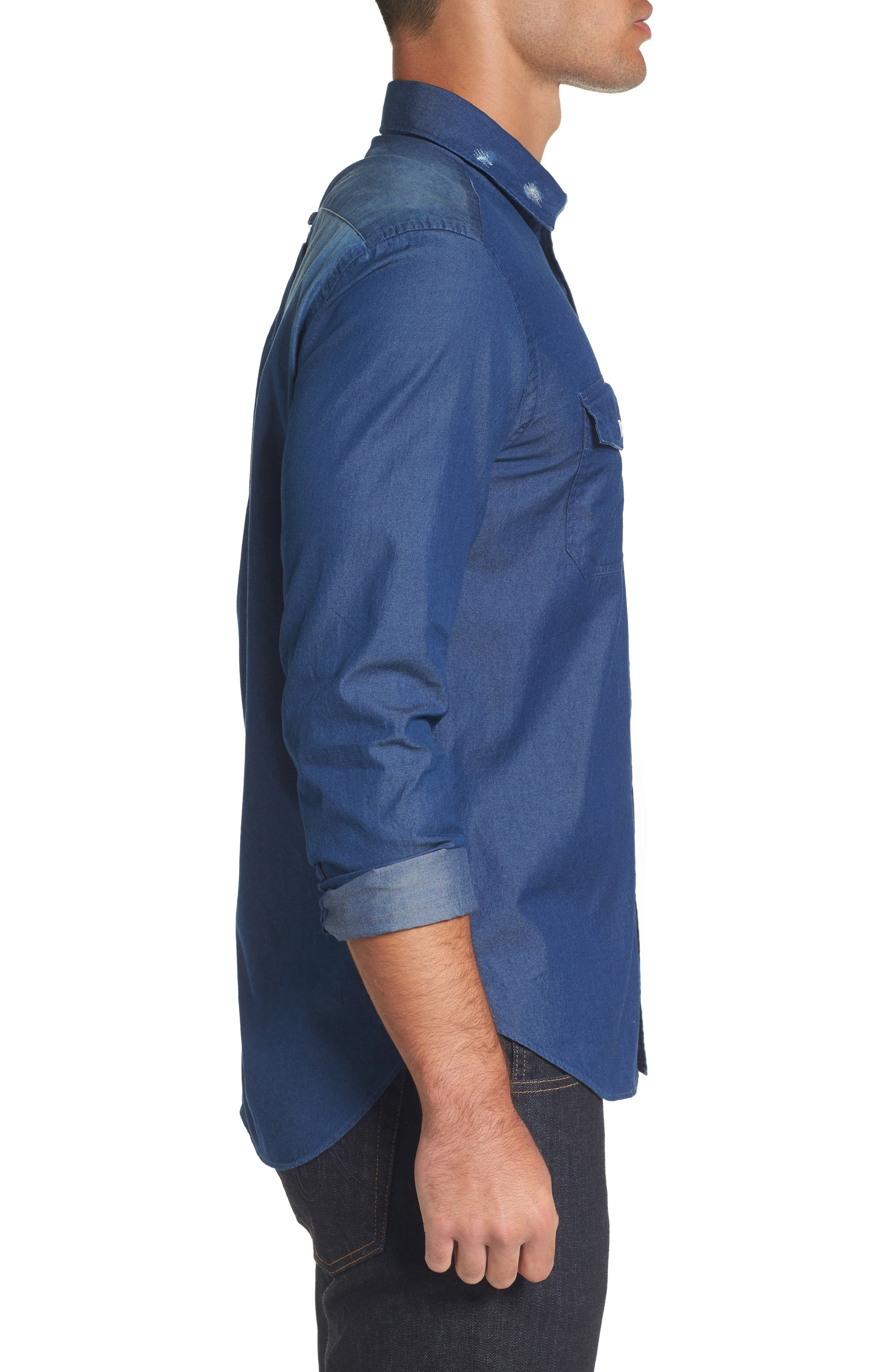 Italian Fade Wash Sport Shirt,                             Alternate thumbnail 3, color,                             Blue