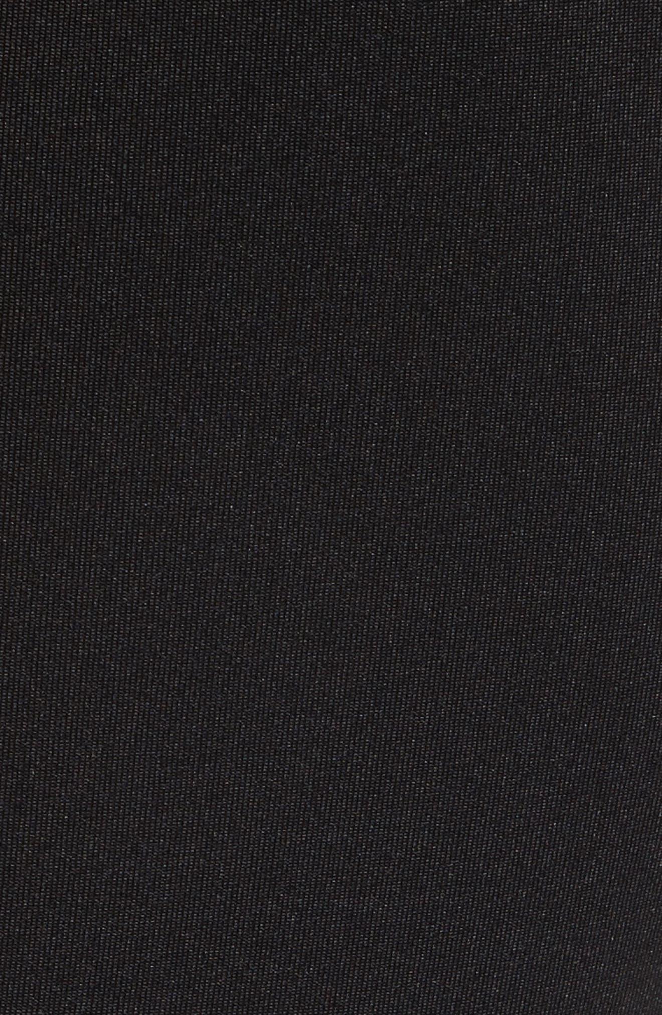 Mesh Panel Scallop Skater Dress,                             Alternate thumbnail 5, color,                             Black