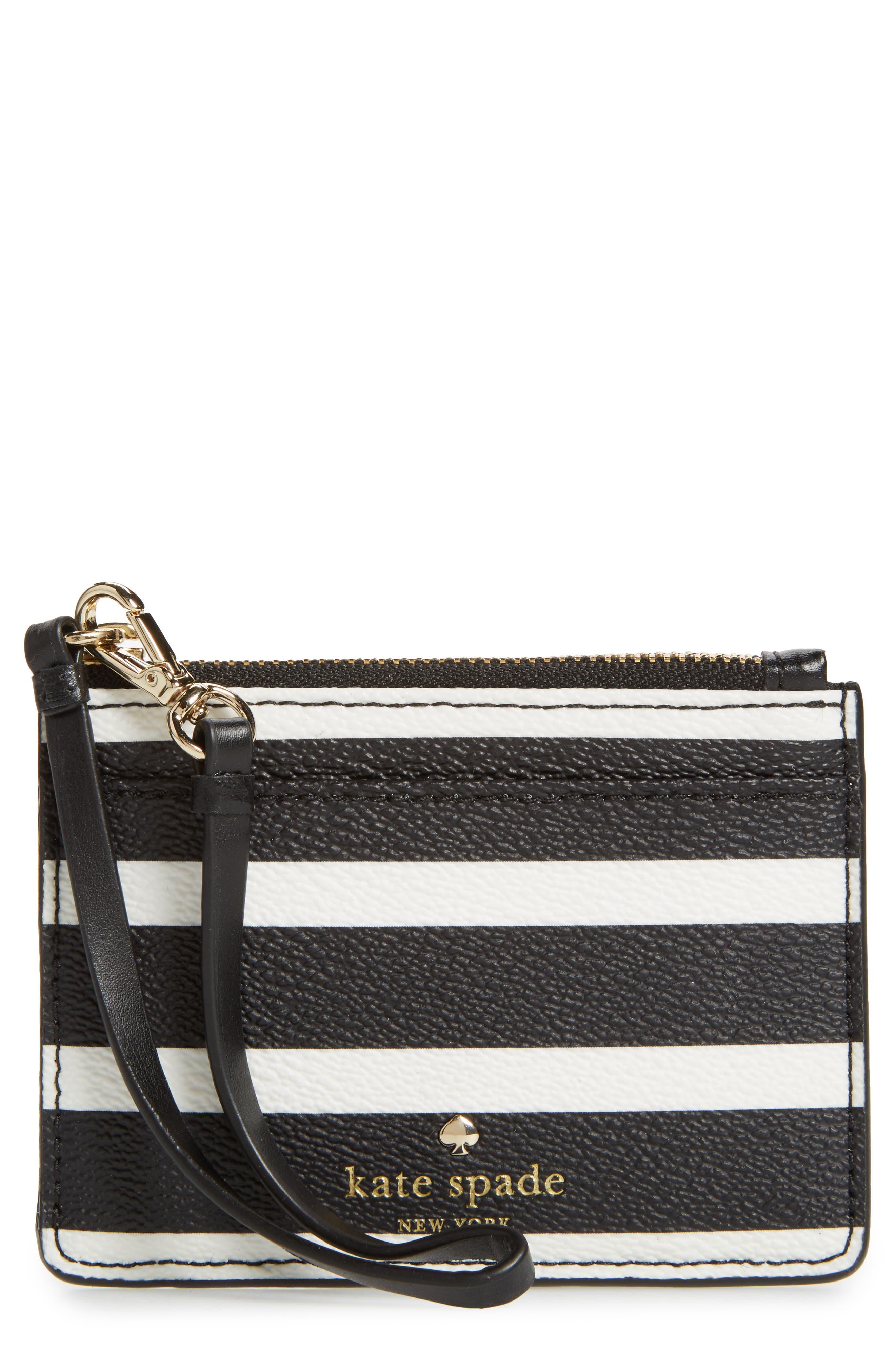 Main Image - kate spade new york hyde lane - mellody stripe leather card case