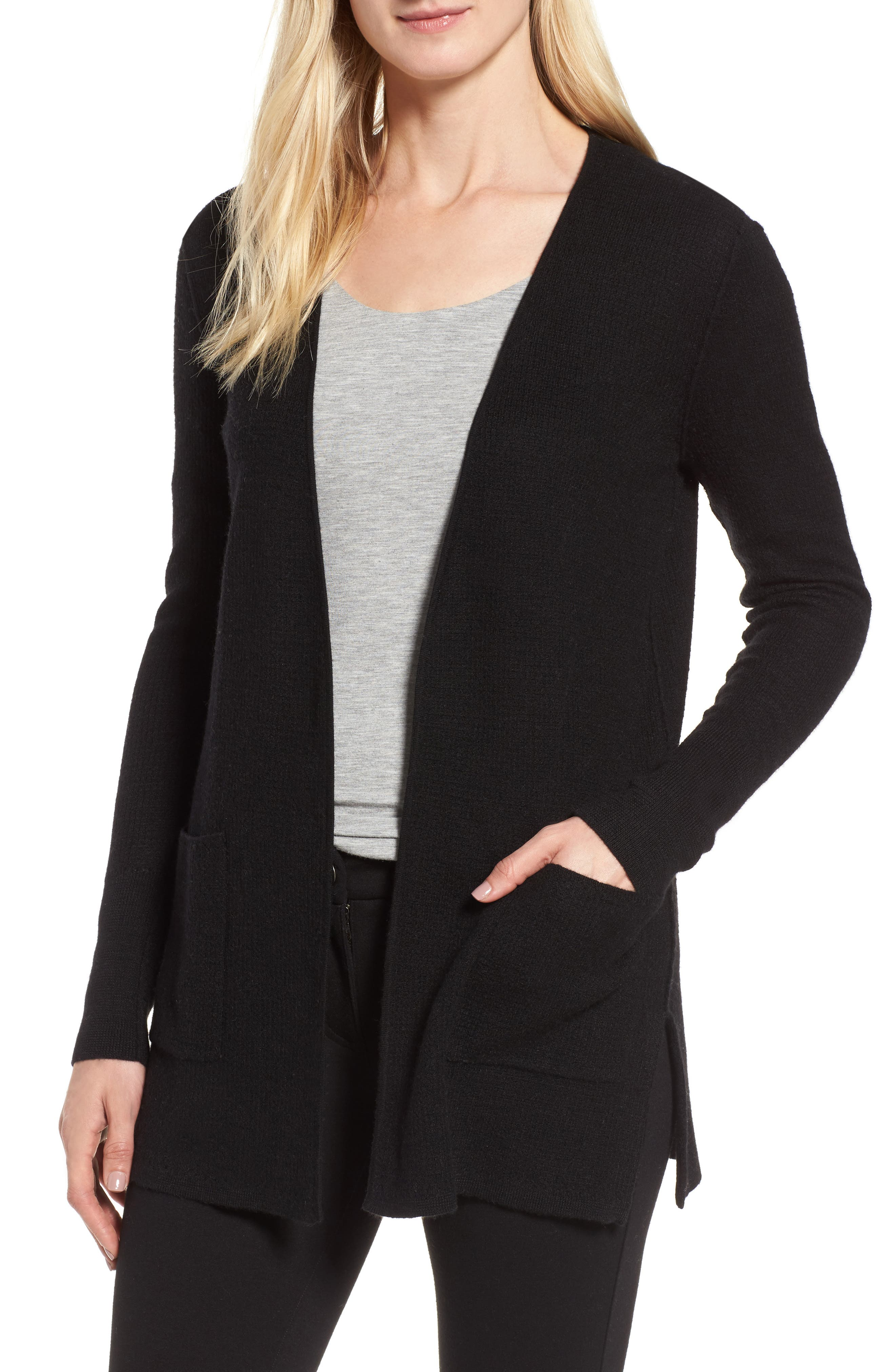 Waffle Stitch Cashmere Cardigan,                             Main thumbnail 1, color,                             Black
