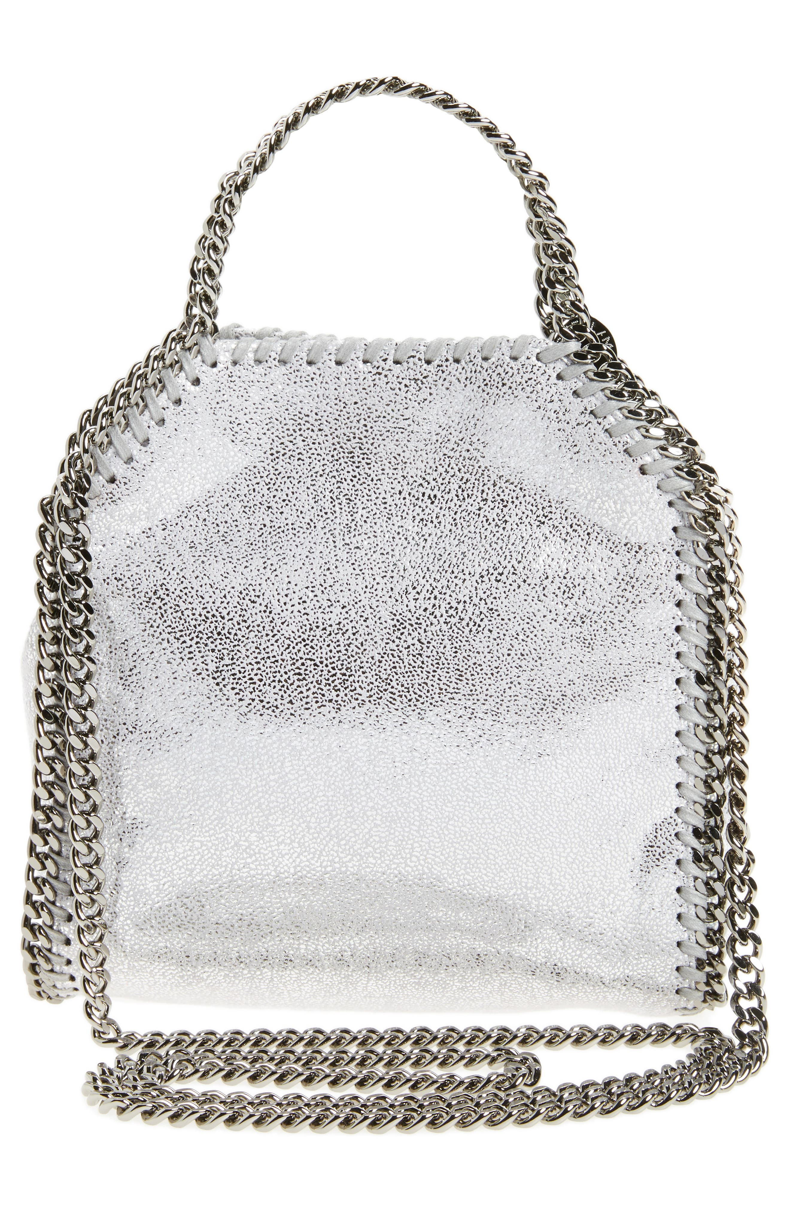 'Tiny Falabella' Metallic Faux Leather Crossbody Bag,                             Alternate thumbnail 2, color,                             Silver