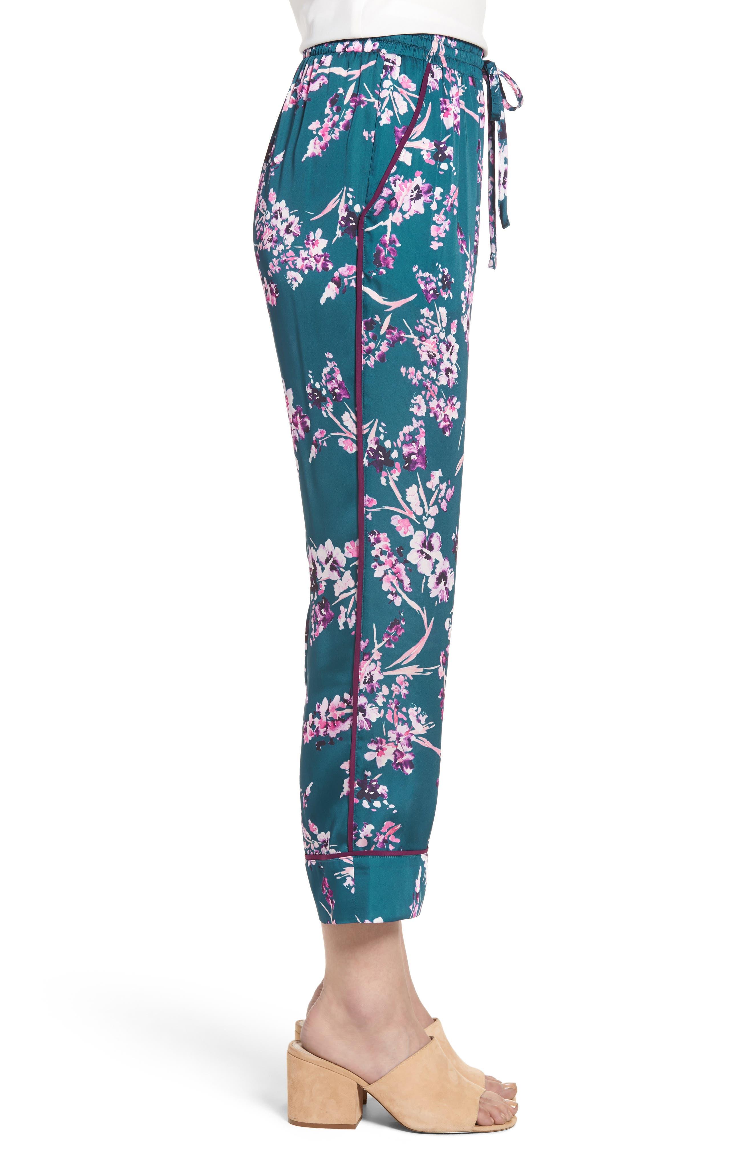 Katrina Print Pants,                             Alternate thumbnail 3, color,                             Moroccan Blossom