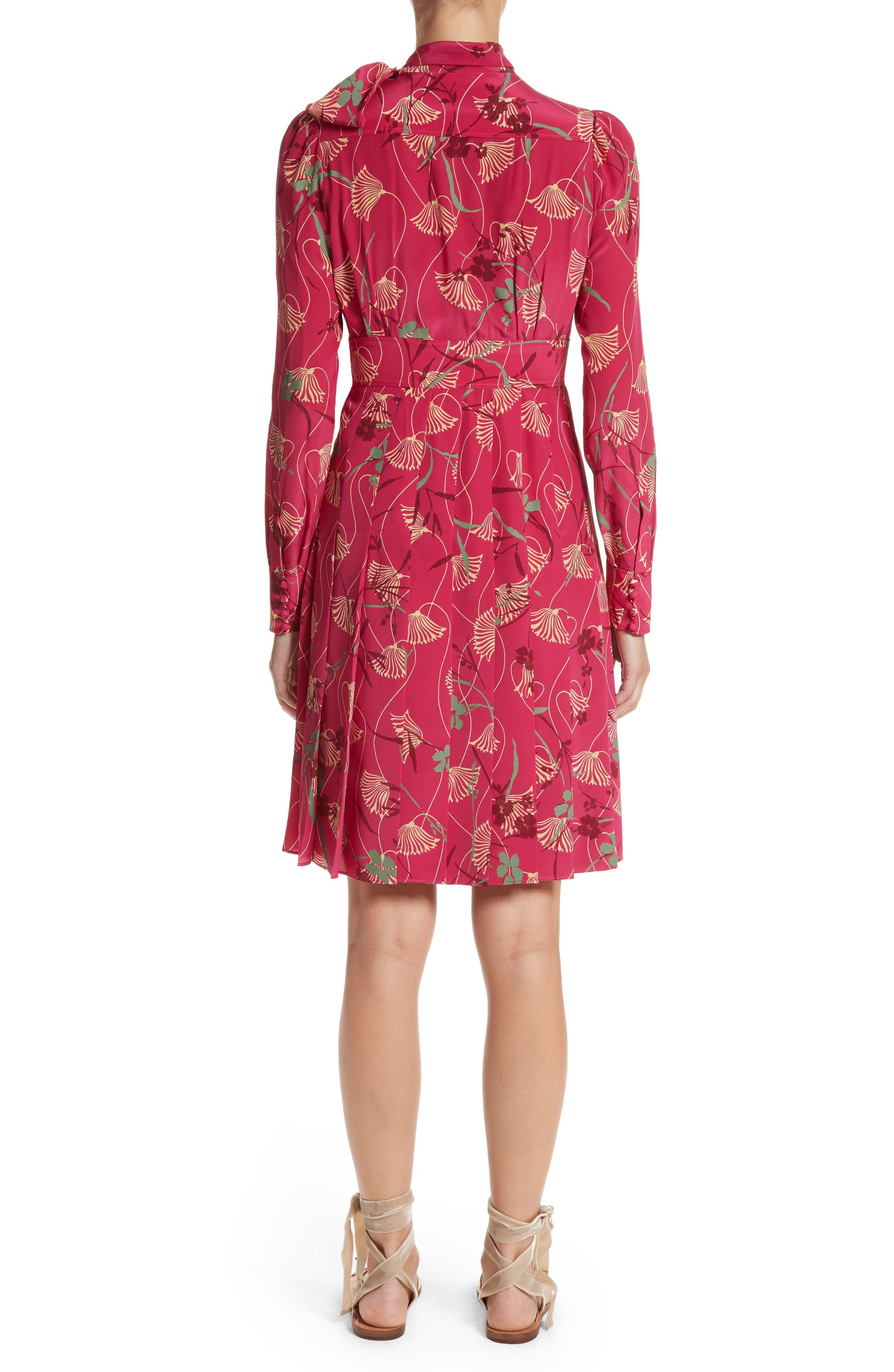 Lotus Print Silk Tie Neck Dress,                             Alternate thumbnail 2, color,                             Pink