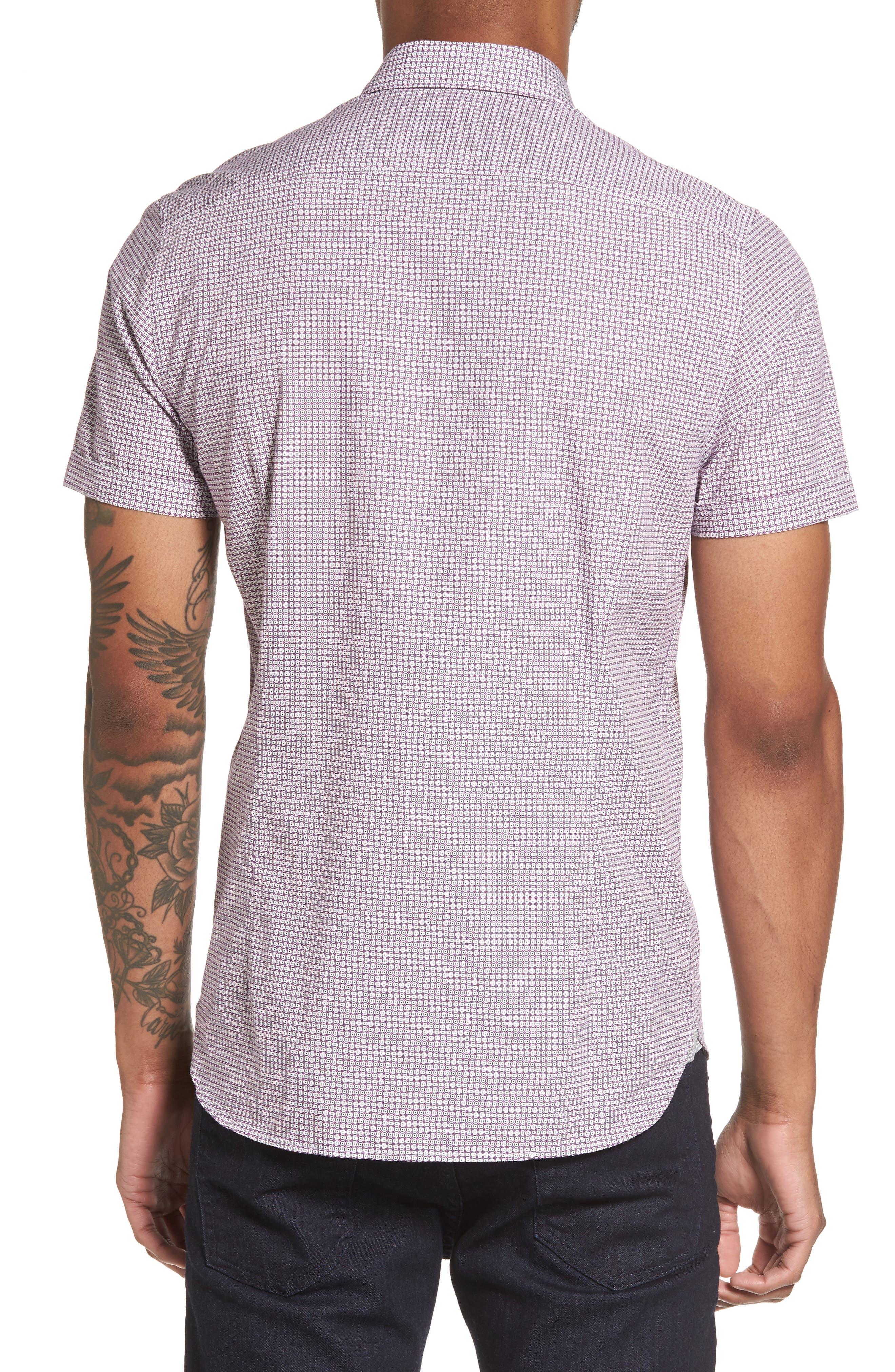 Tennent Trim Fit Microprint Woven Shirt,                             Alternate thumbnail 2, color,                             Dp Purple