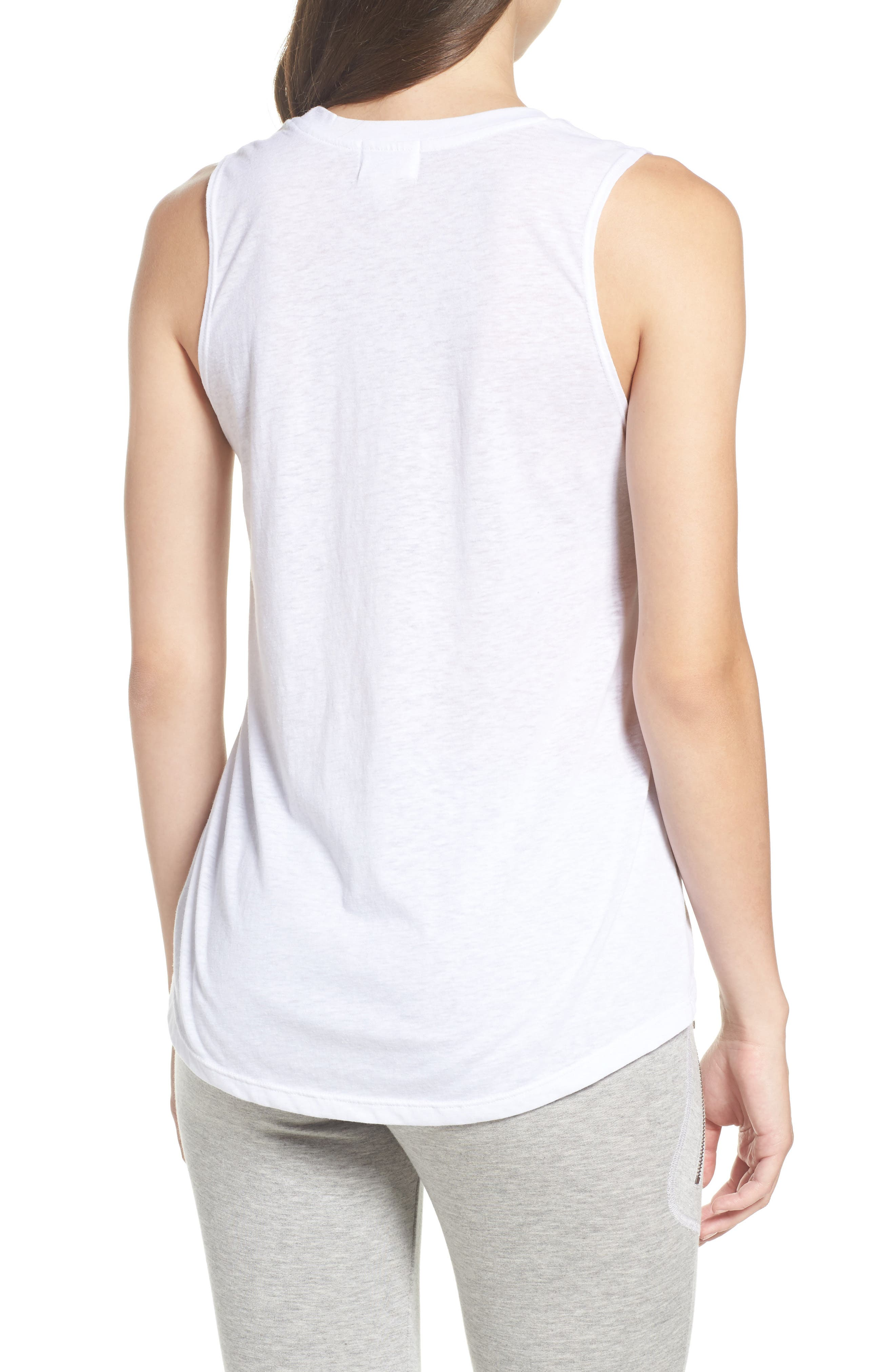 High/Low Muscle Tank,                             Alternate thumbnail 2, color,                             White