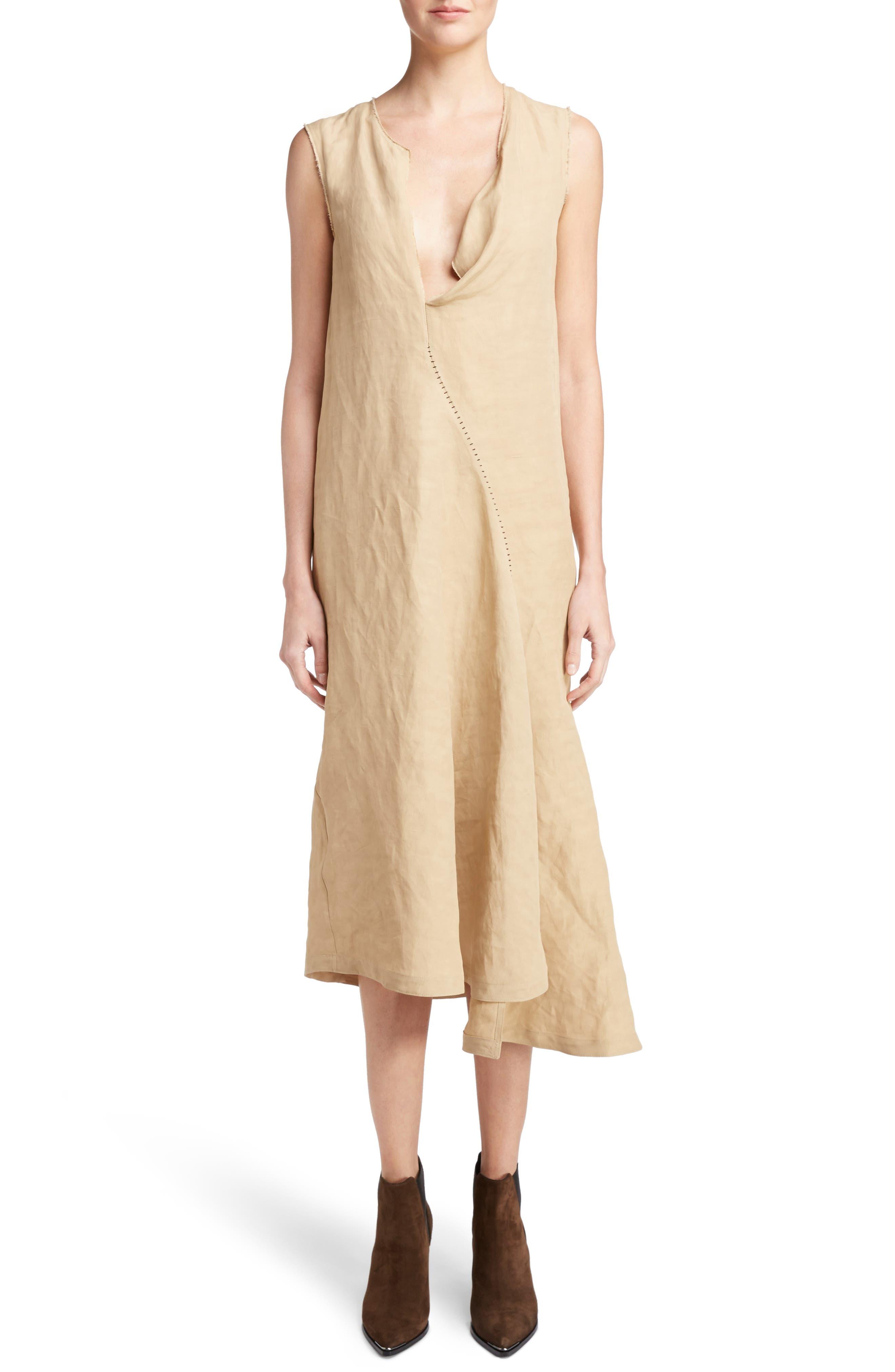 ACNE Studios Deala Asymmetrical Linen Blend Shift Dress