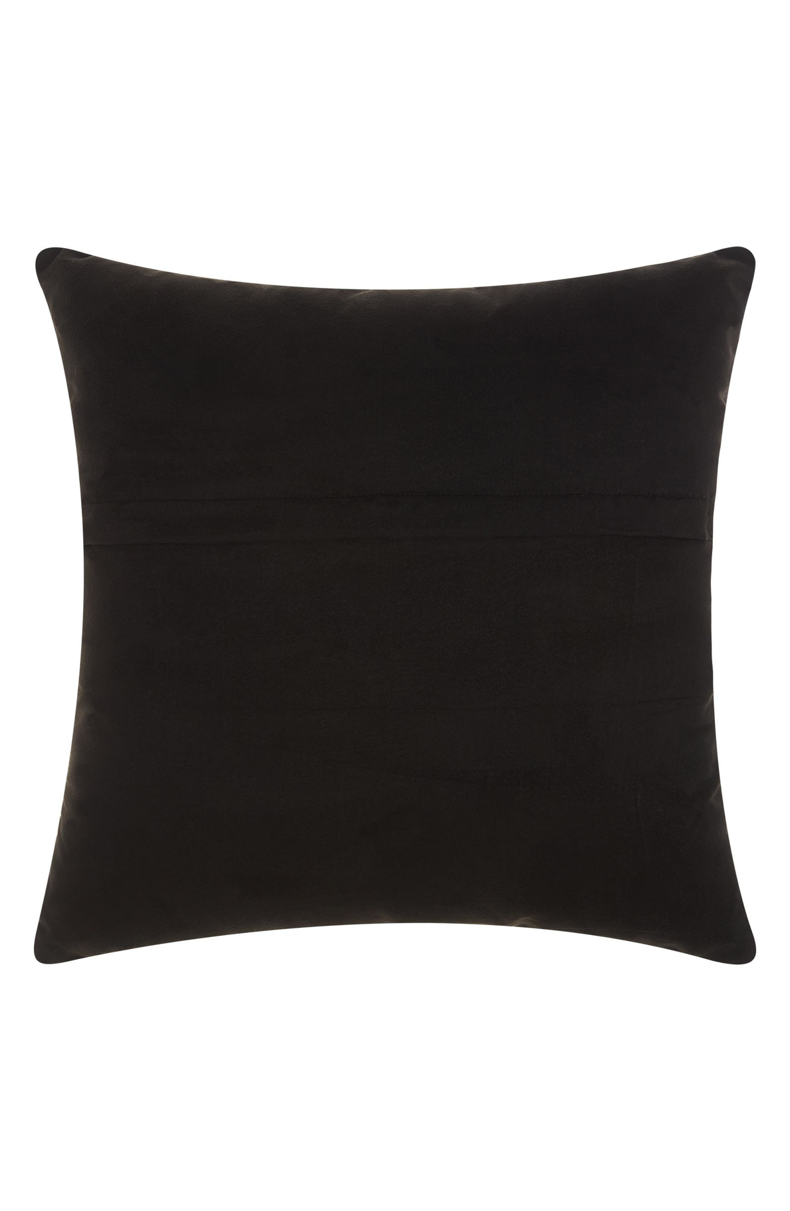 Woven Leather Accent Pillow,                             Alternate thumbnail 2, color,                             Black