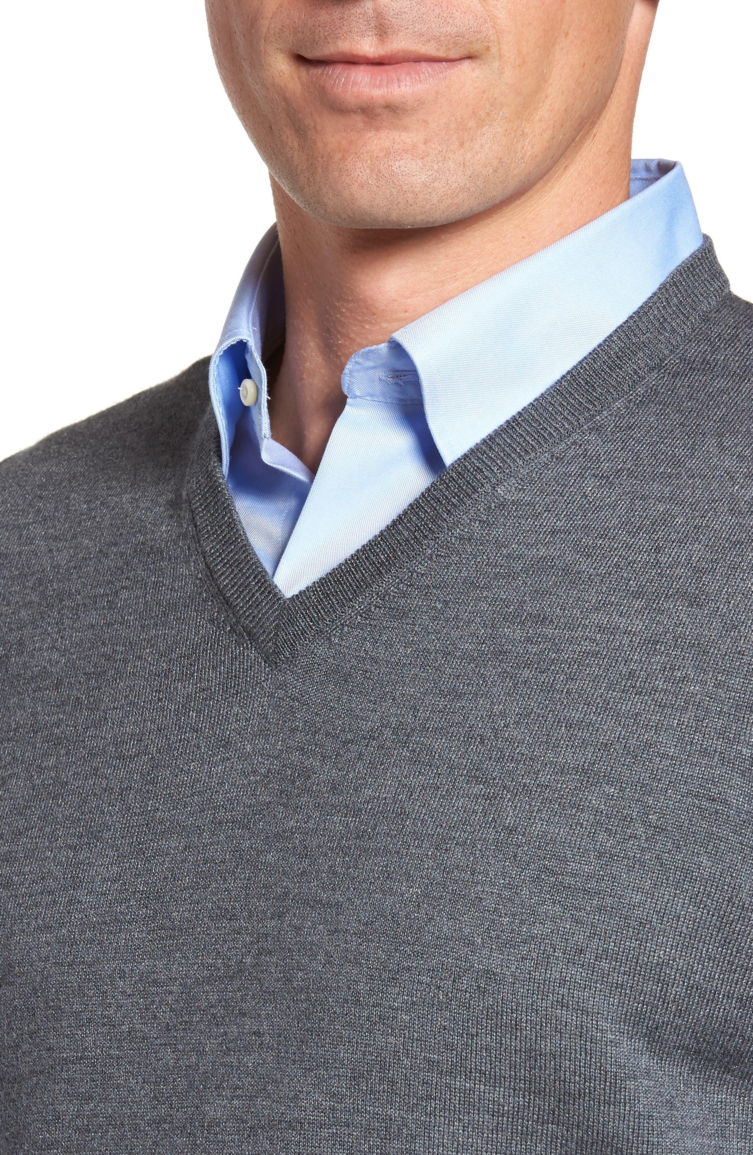 Crown Merino Blend Knit Vest,                             Alternate thumbnail 4, color,                             Charcoal