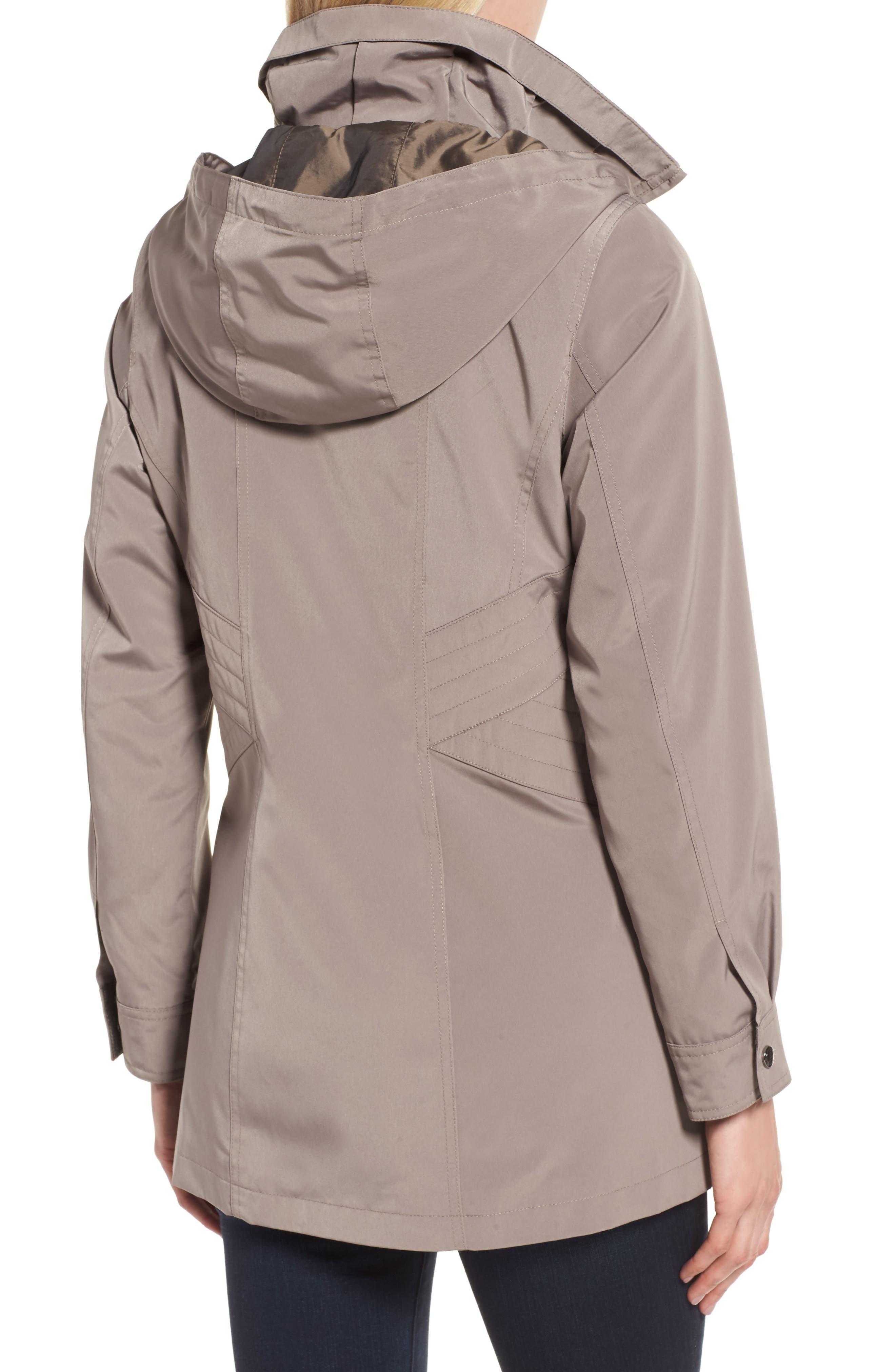 Alternate Image 2  - Gallery Two-Tone Long Silk Look Raincoat (Regular & Petite)