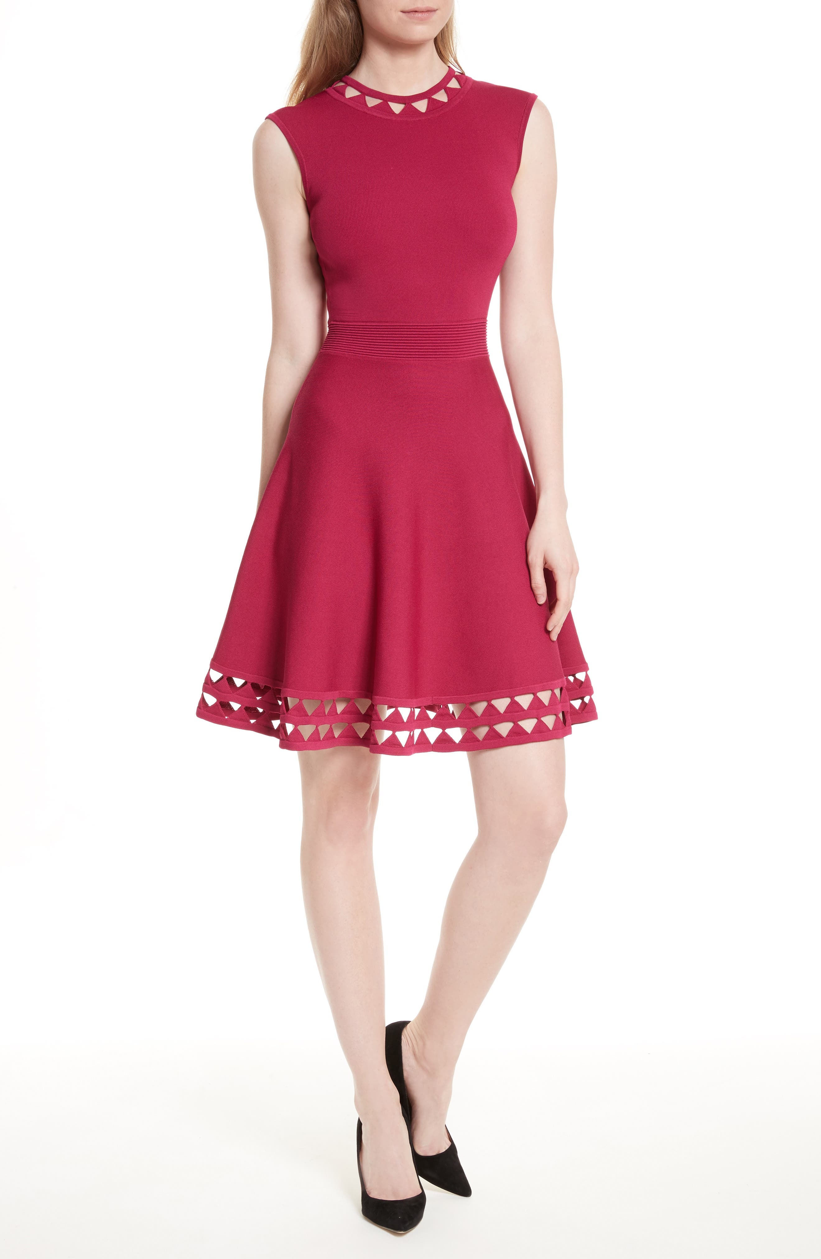 Kathryn Cutwork Knit Skater Dress,                         Main,                         color, Deep Pink