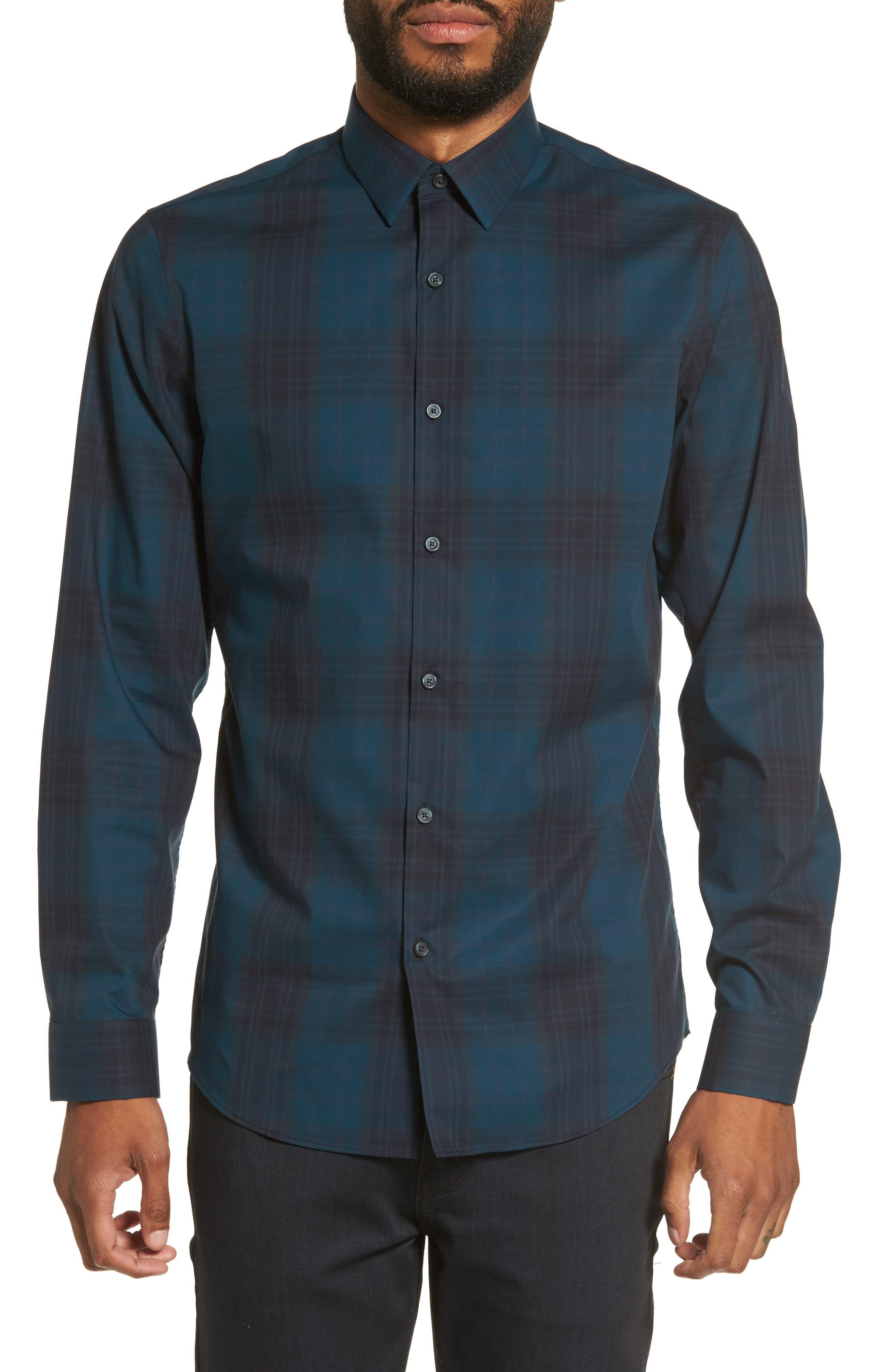 Check Sport Shirt,                         Main,                         color, Blue Legion Navy Plaid