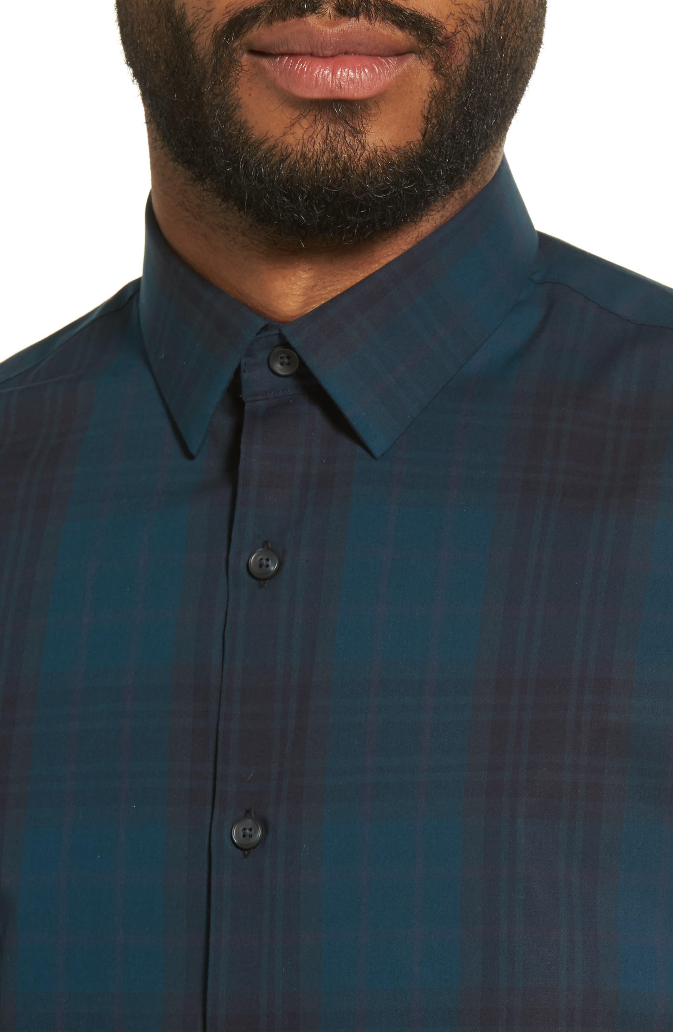Check Sport Shirt,                             Alternate thumbnail 4, color,                             Blue Legion Navy Plaid