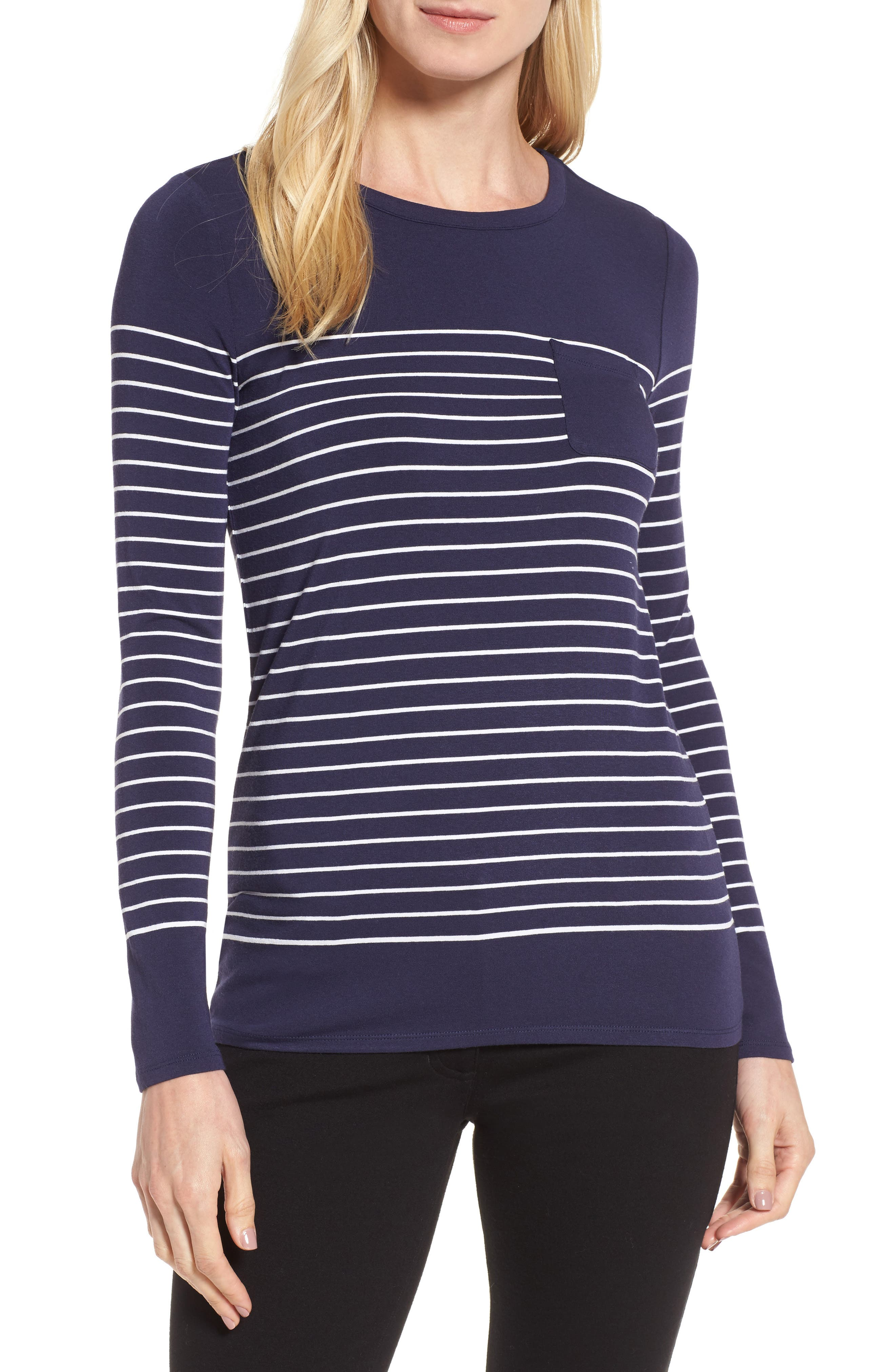 Long Sleeve Stripe Pocket Tee,                         Main,                         color, Navy- White Placed Stripe