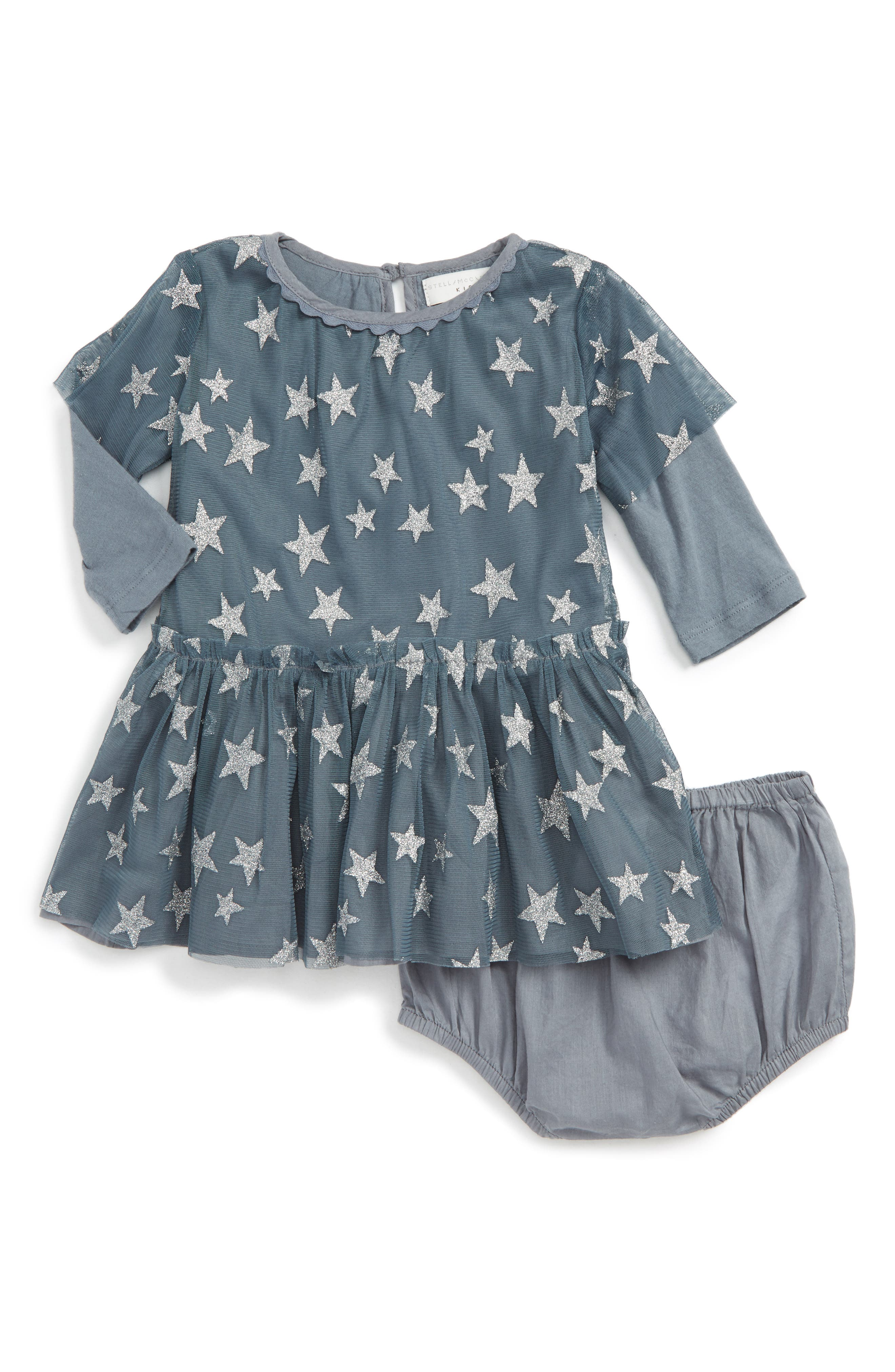 Kids Tulle Star Dress,                         Main,                         color, Petrol