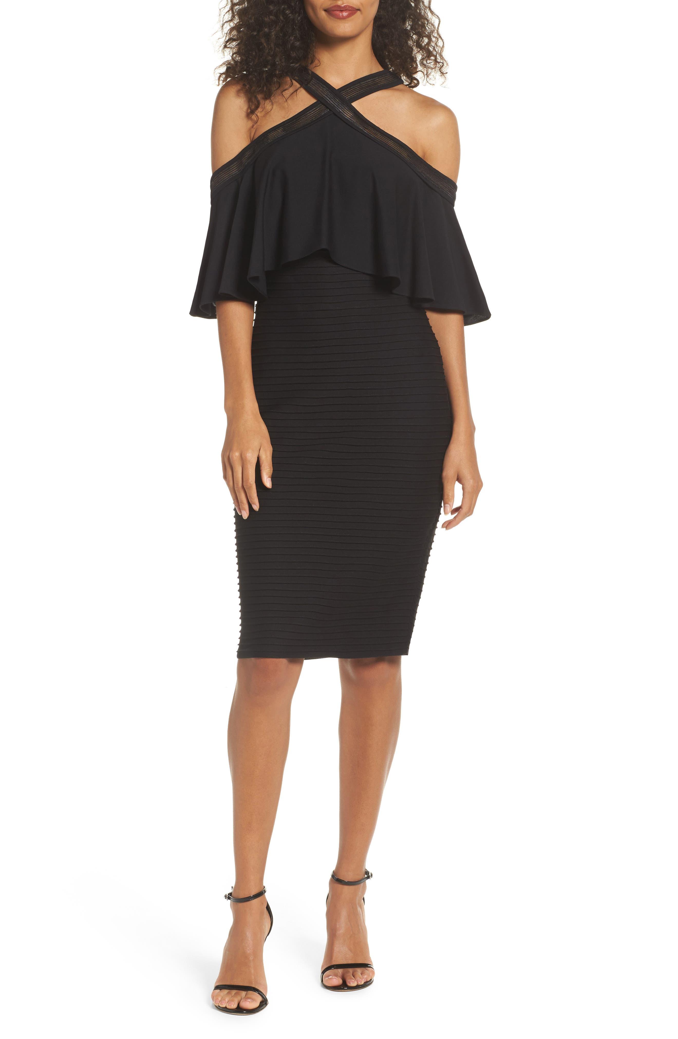 Pintuck Cold Shoulder Dress,                         Main,                         color, Black