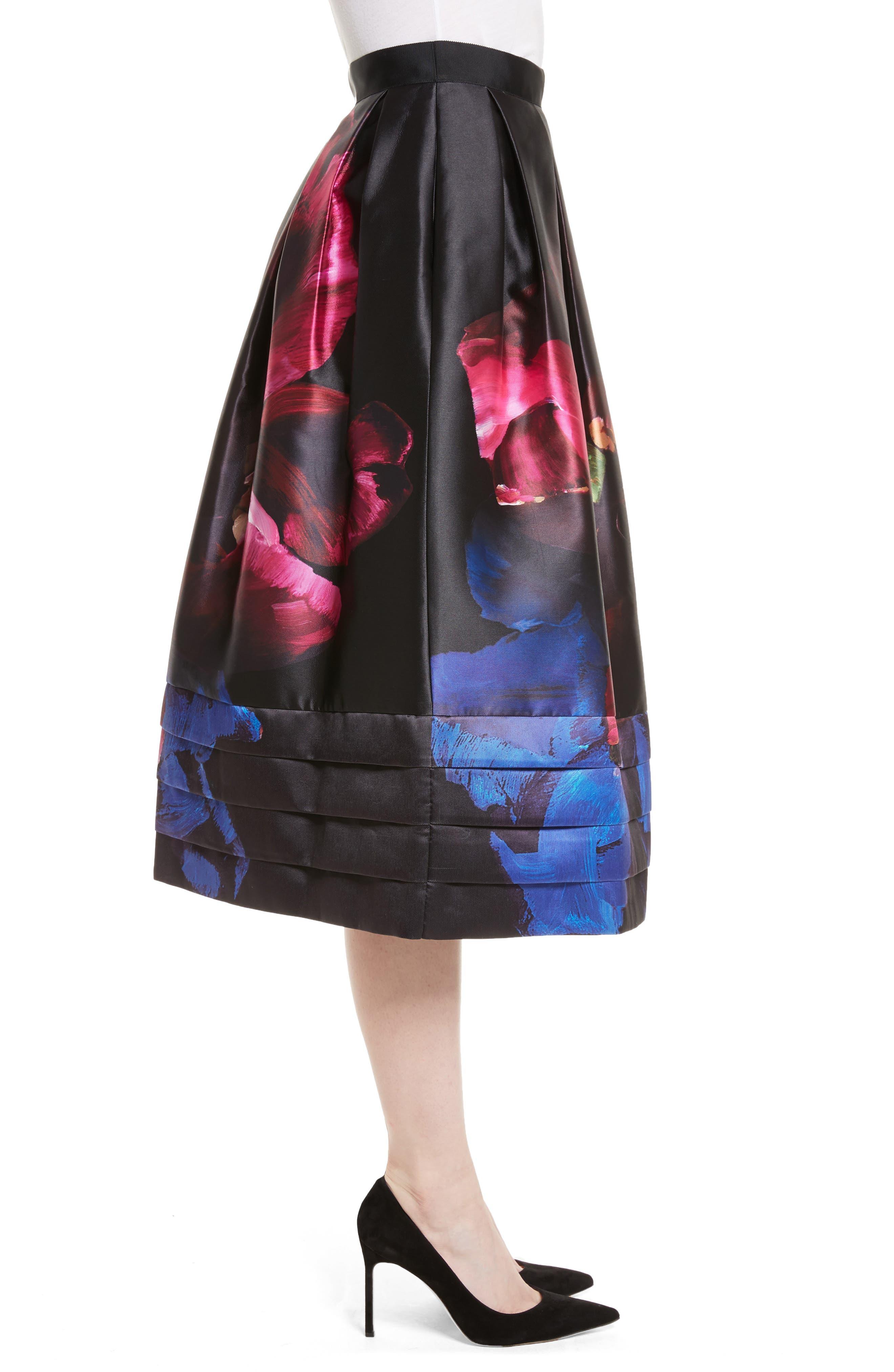 Nuala Impressionist Bloom Print Full Skirt,                             Alternate thumbnail 3, color,                             Black